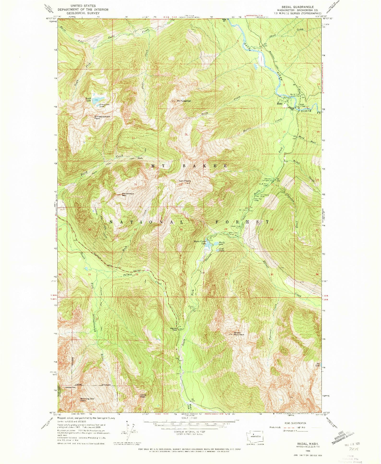 USGS 1:24000-SCALE QUADRANGLE FOR BEDAL, WA 1966
