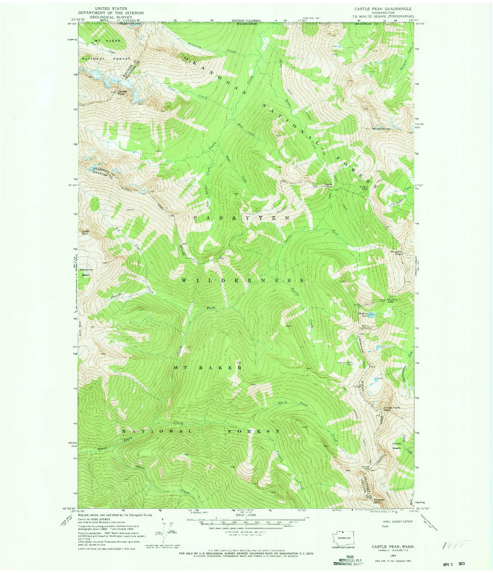 USGS 1:24000-SCALE QUADRANGLE FOR CASTILE FALLS, WA 1969