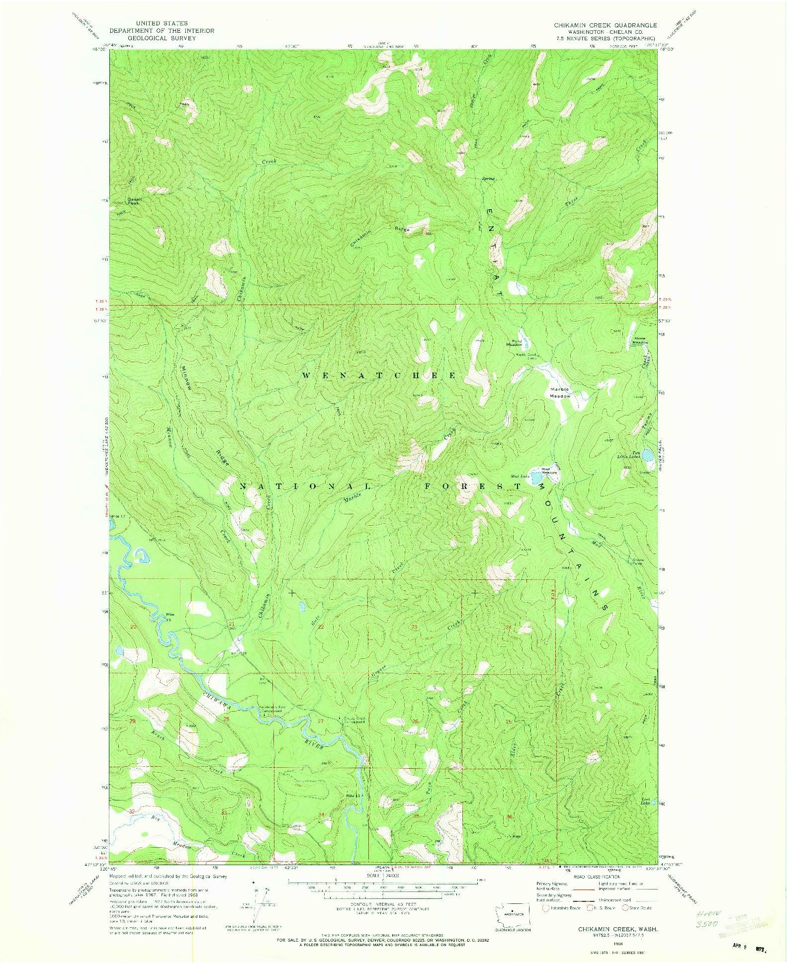 USGS 1:24000-SCALE QUADRANGLE FOR CHIKAMIN CREEK, WA 1968