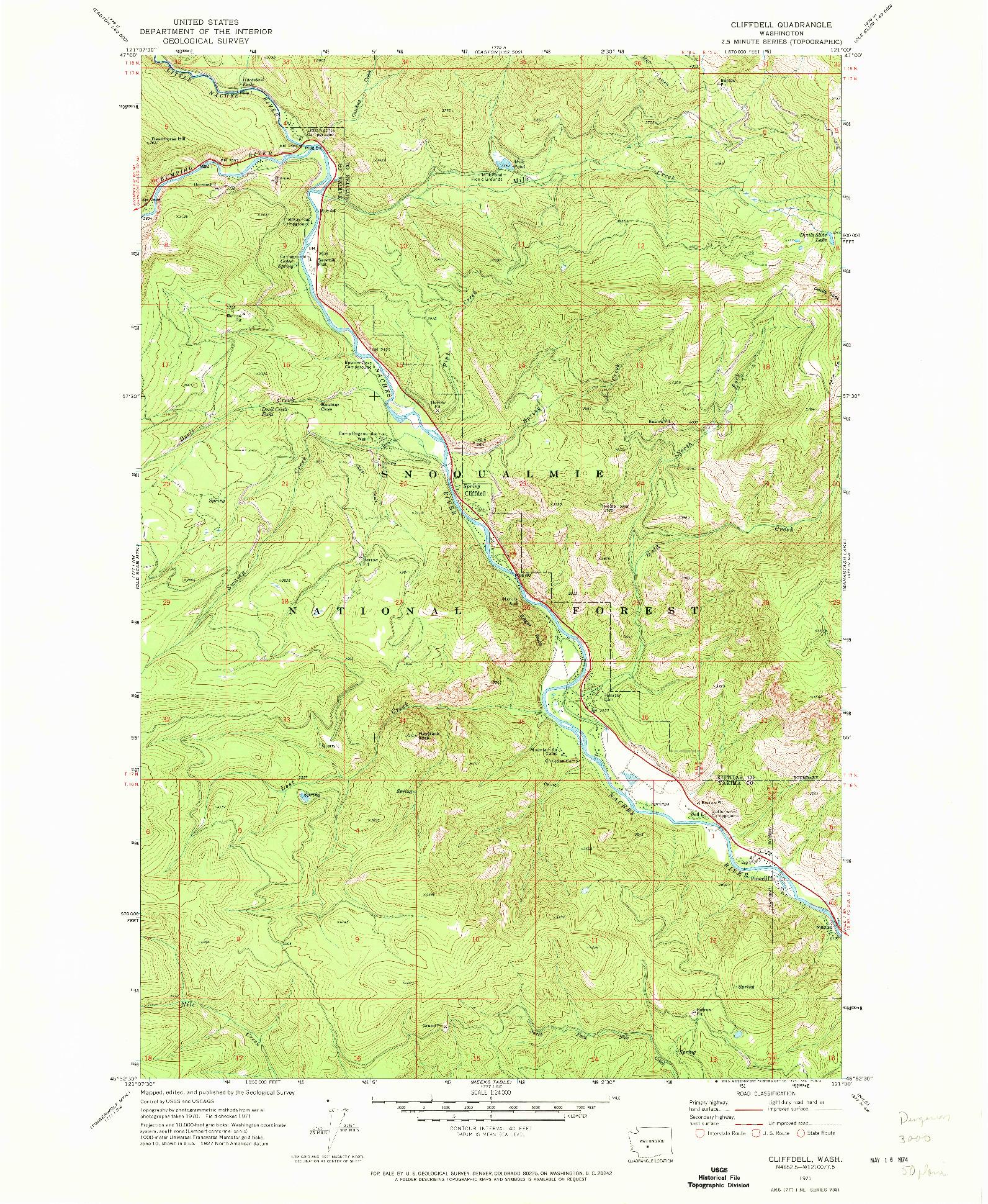 USGS 1:24000-SCALE QUADRANGLE FOR CLIFFDELL, WA 1971