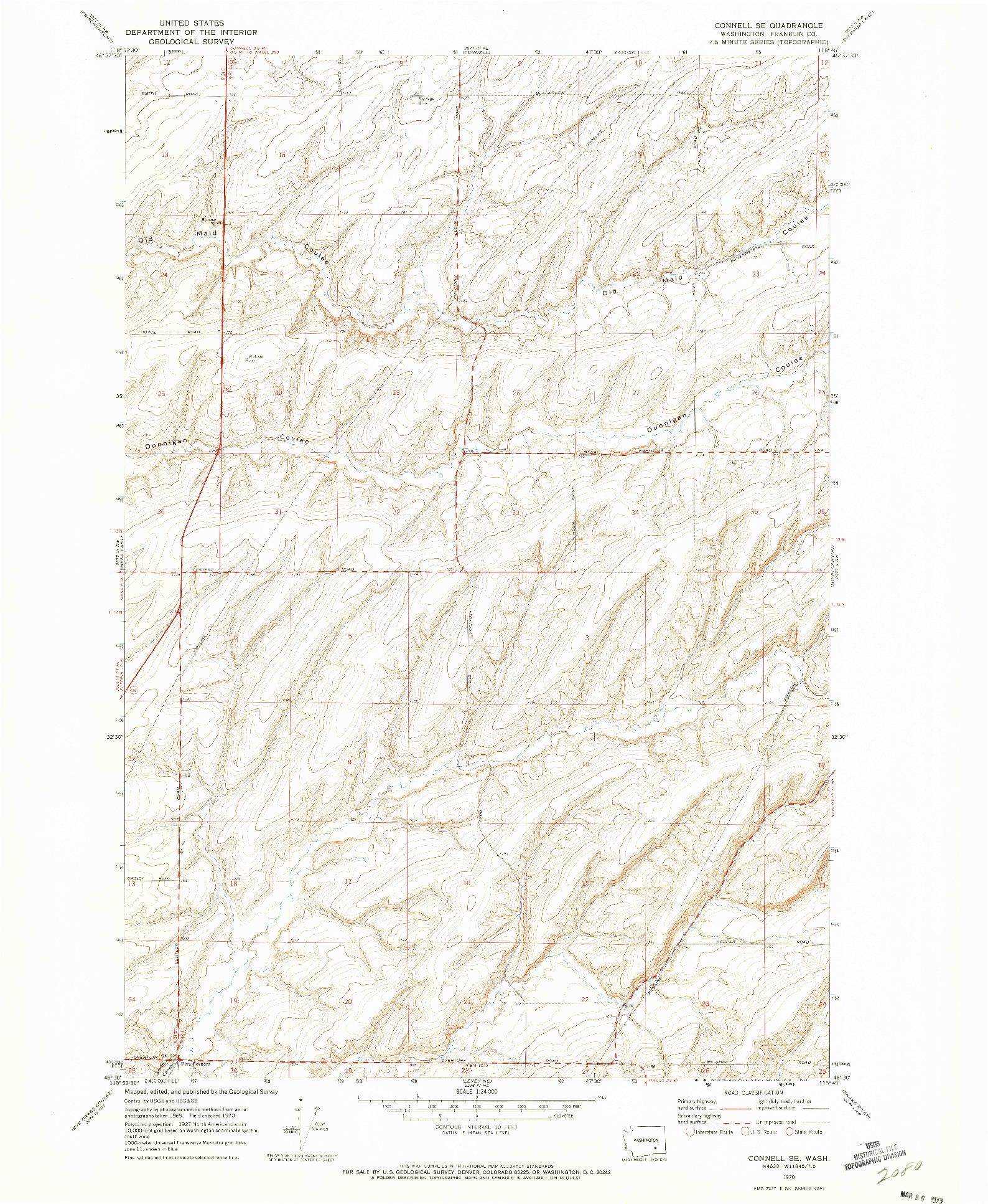 USGS 1:24000-SCALE QUADRANGLE FOR CONNELL SE, WA 1970