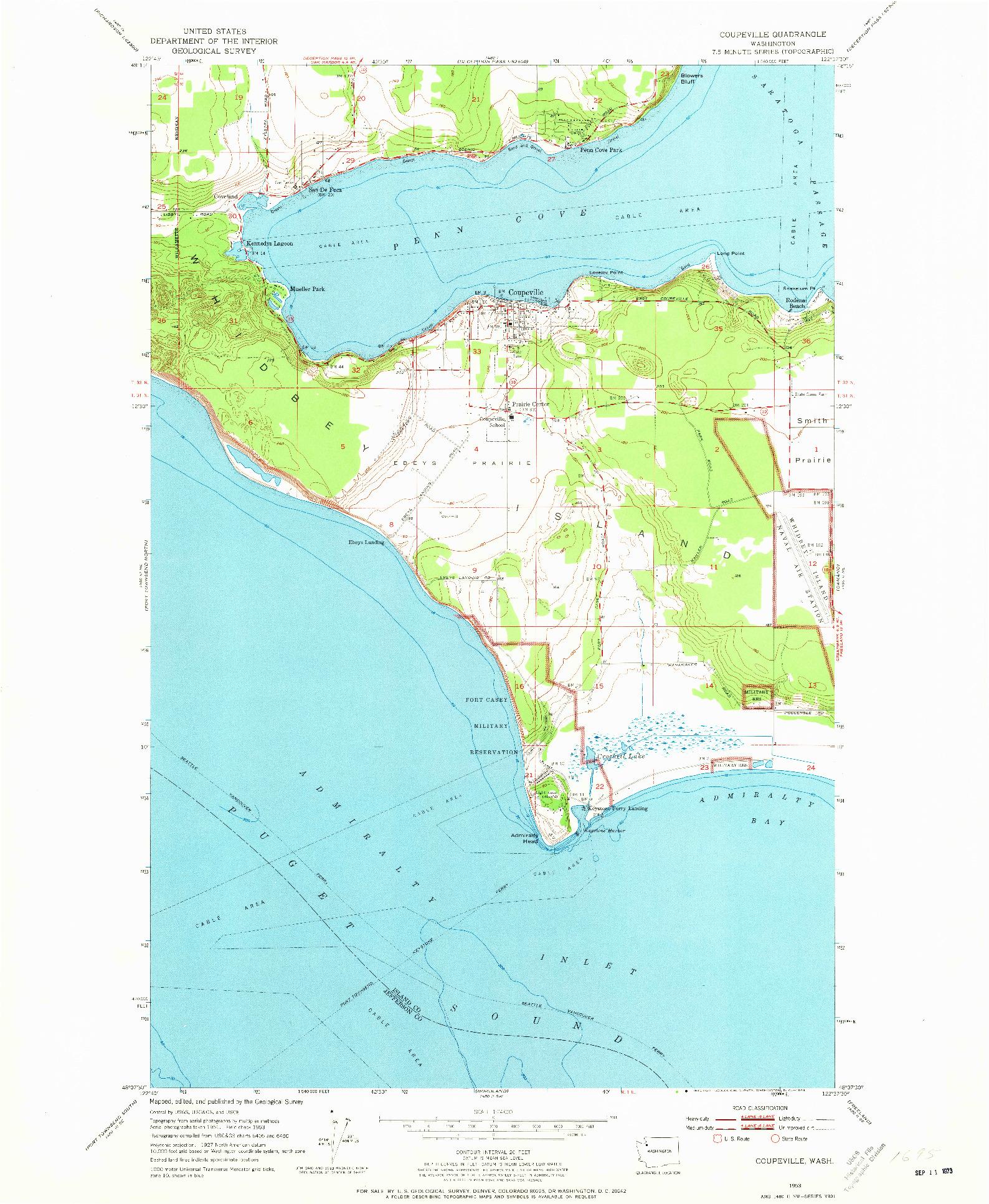 USGS 1:24000-SCALE QUADRANGLE FOR COUPEVILLE, WA 1953