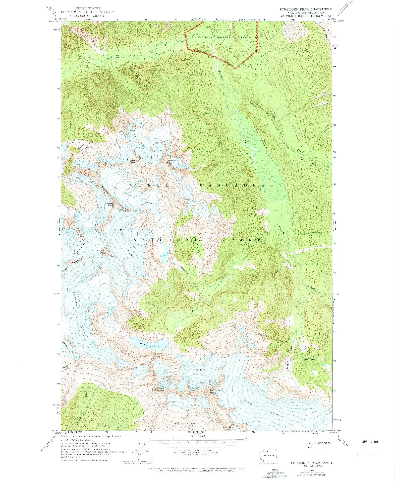 USGS 1:24000-SCALE QUADRANGLE FOR FORBIDDEN PEAK, WA 1963