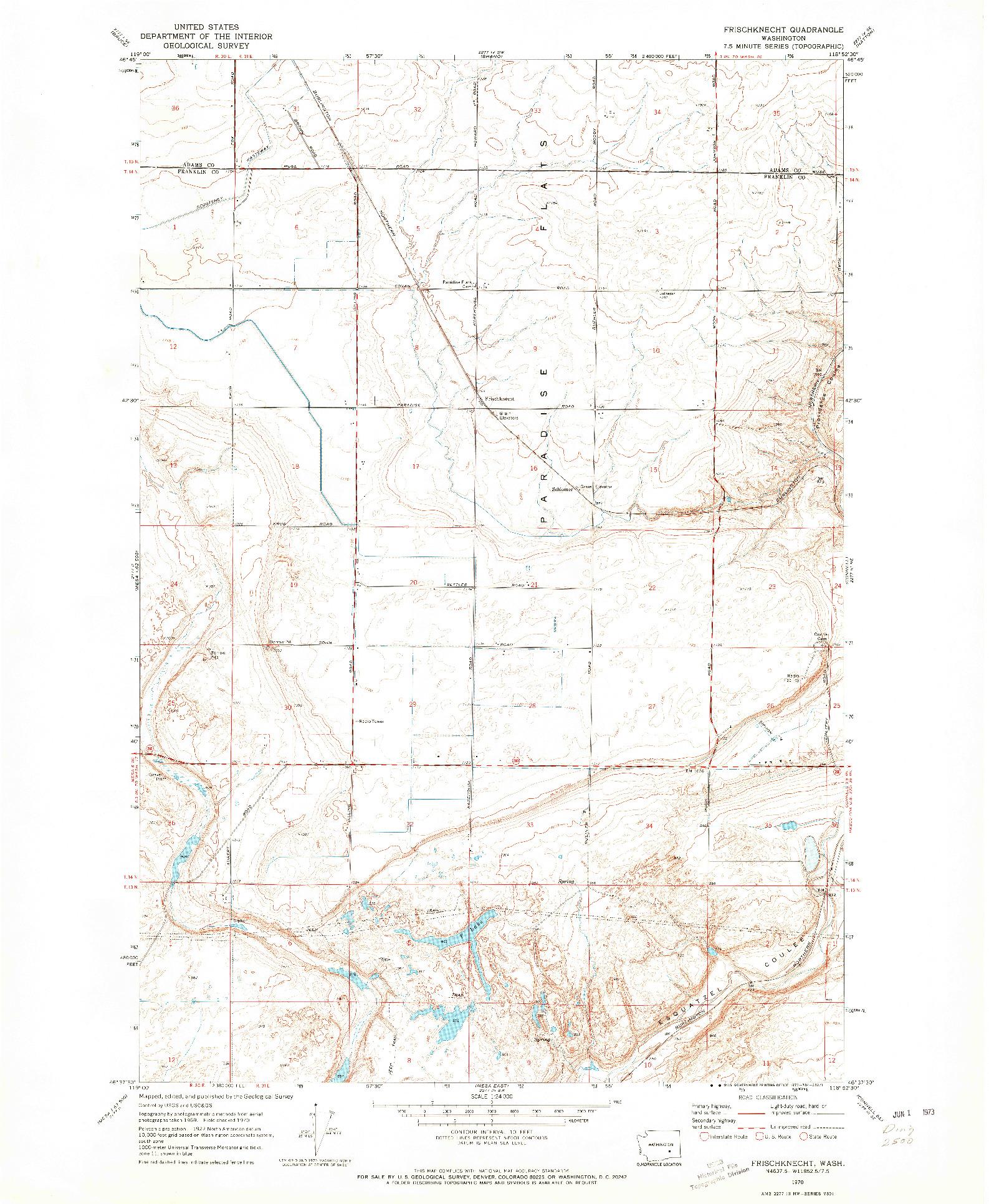 USGS 1:24000-SCALE QUADRANGLE FOR FRISCHKNECHT, WA 1970