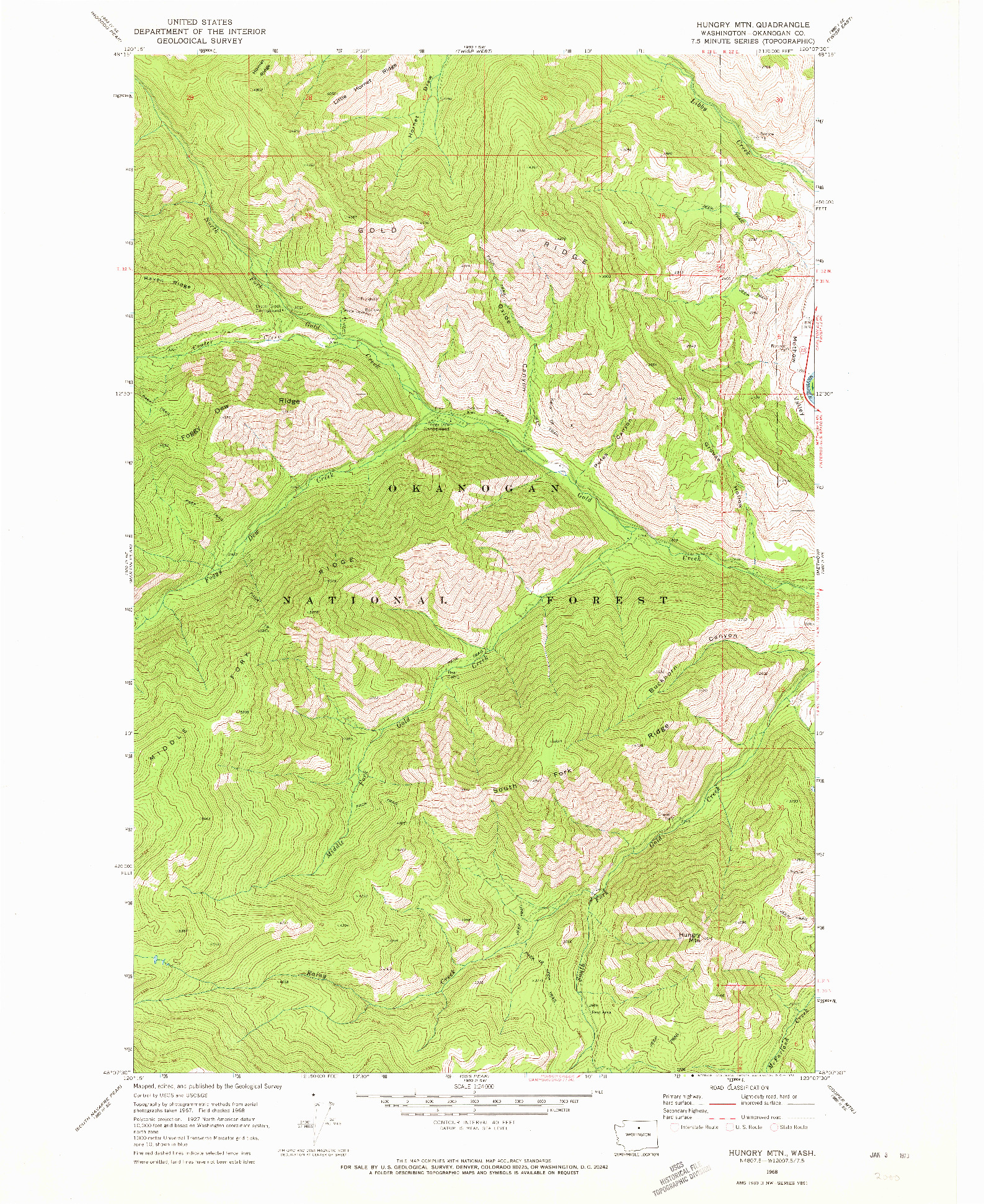 USGS 1:24000-SCALE QUADRANGLE FOR HUNGRY MTN, WA 1968