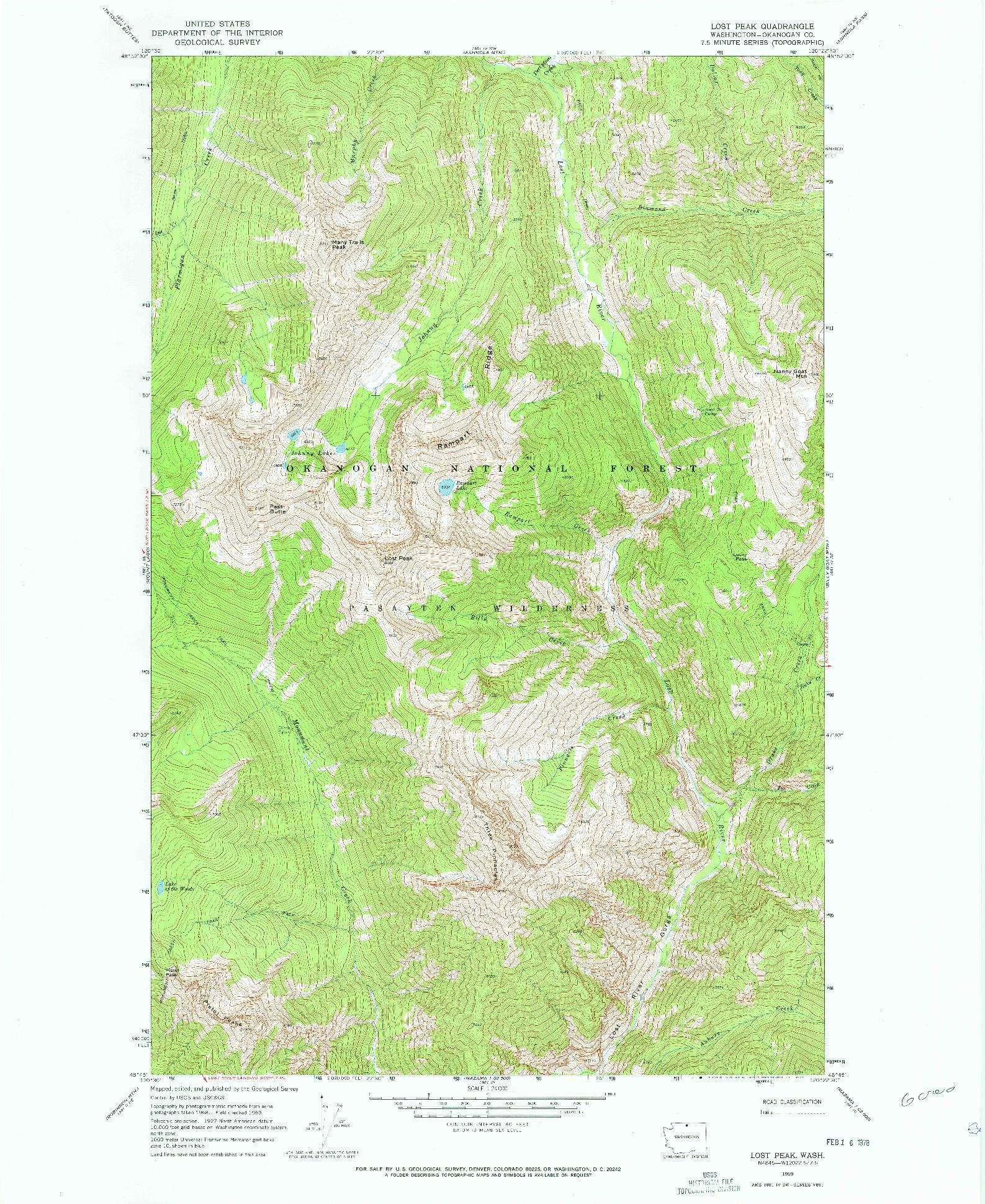 USGS 1:24000-SCALE QUADRANGLE FOR LOST PEAK, WA 1969
