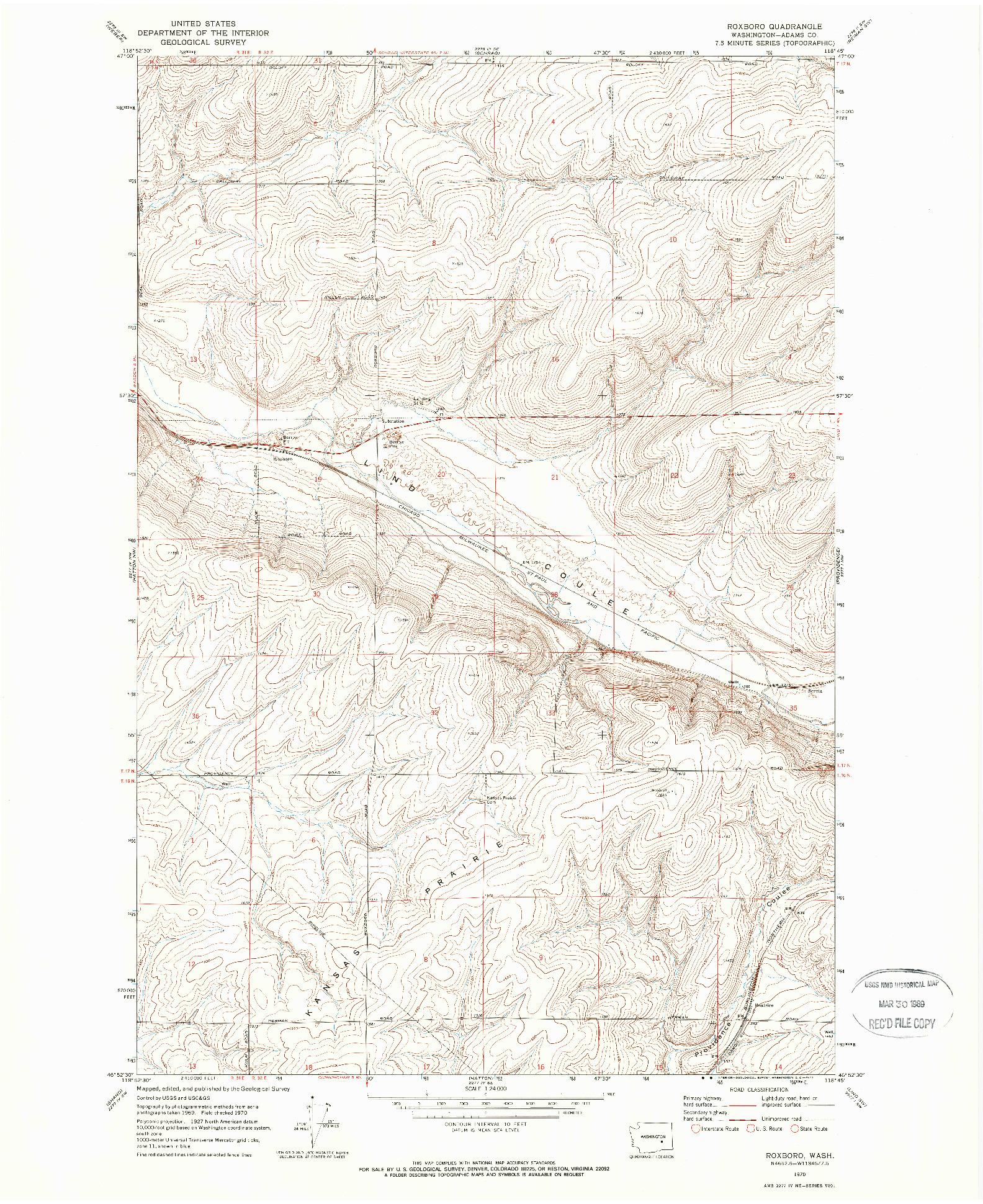 USGS 1:24000-SCALE QUADRANGLE FOR ROXBORO, WA 1970