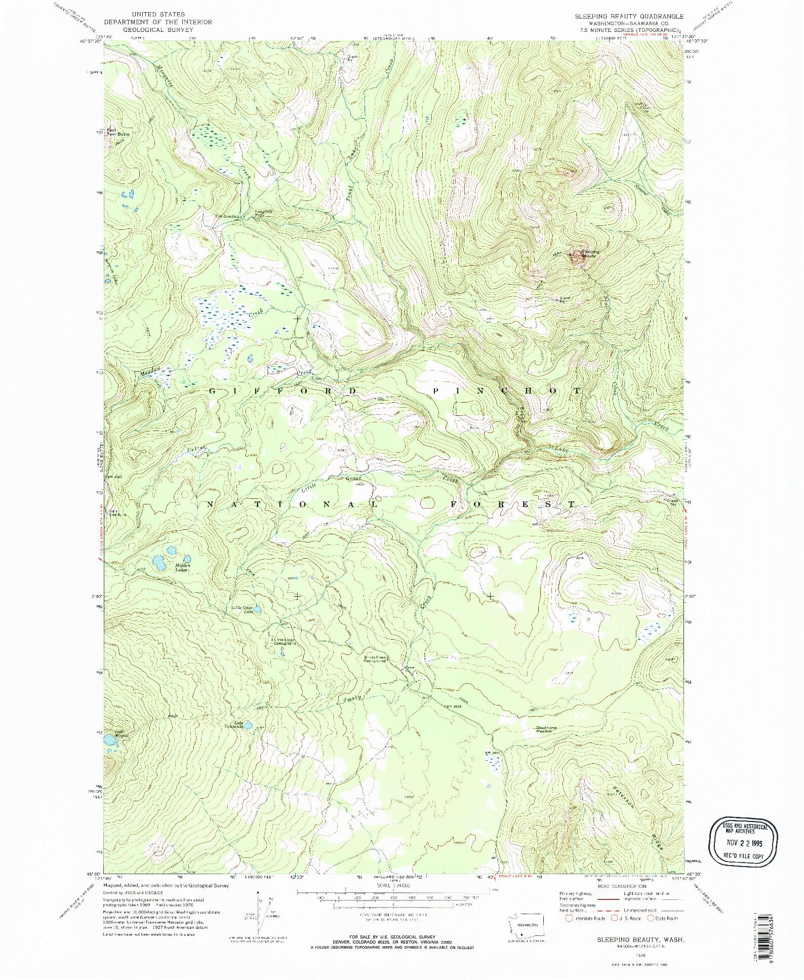 USGS 1:24000-SCALE QUADRANGLE FOR SLEEPING BEAUTY, WA 1970