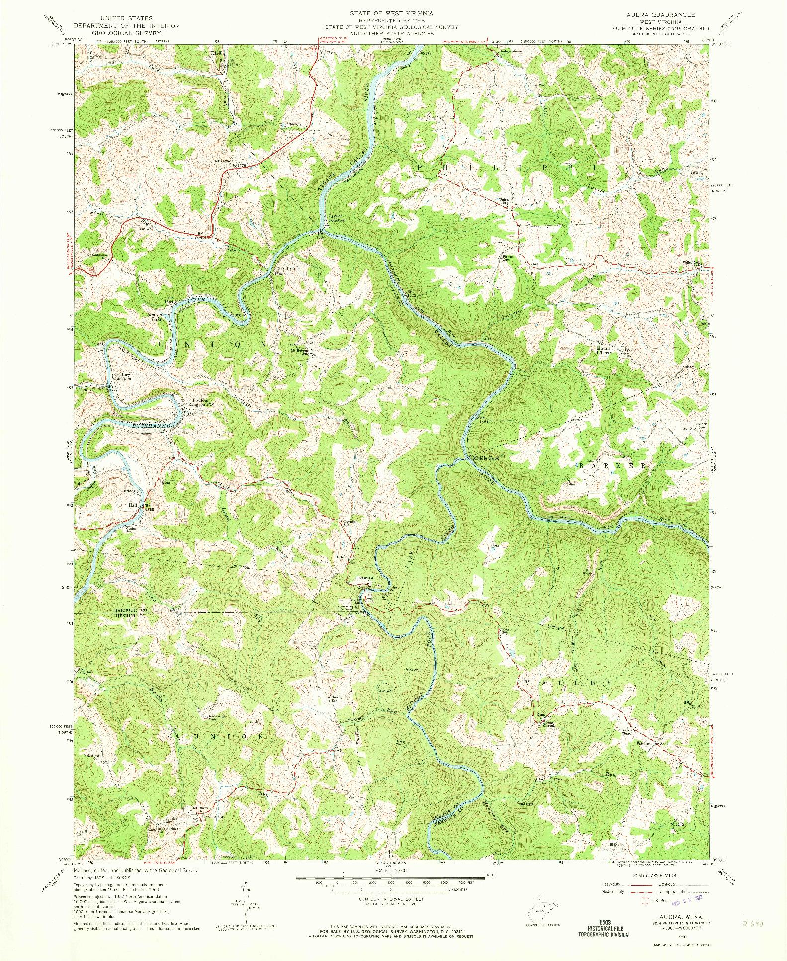 USGS 1:24000-SCALE QUADRANGLE FOR AUDRA, WV 1960