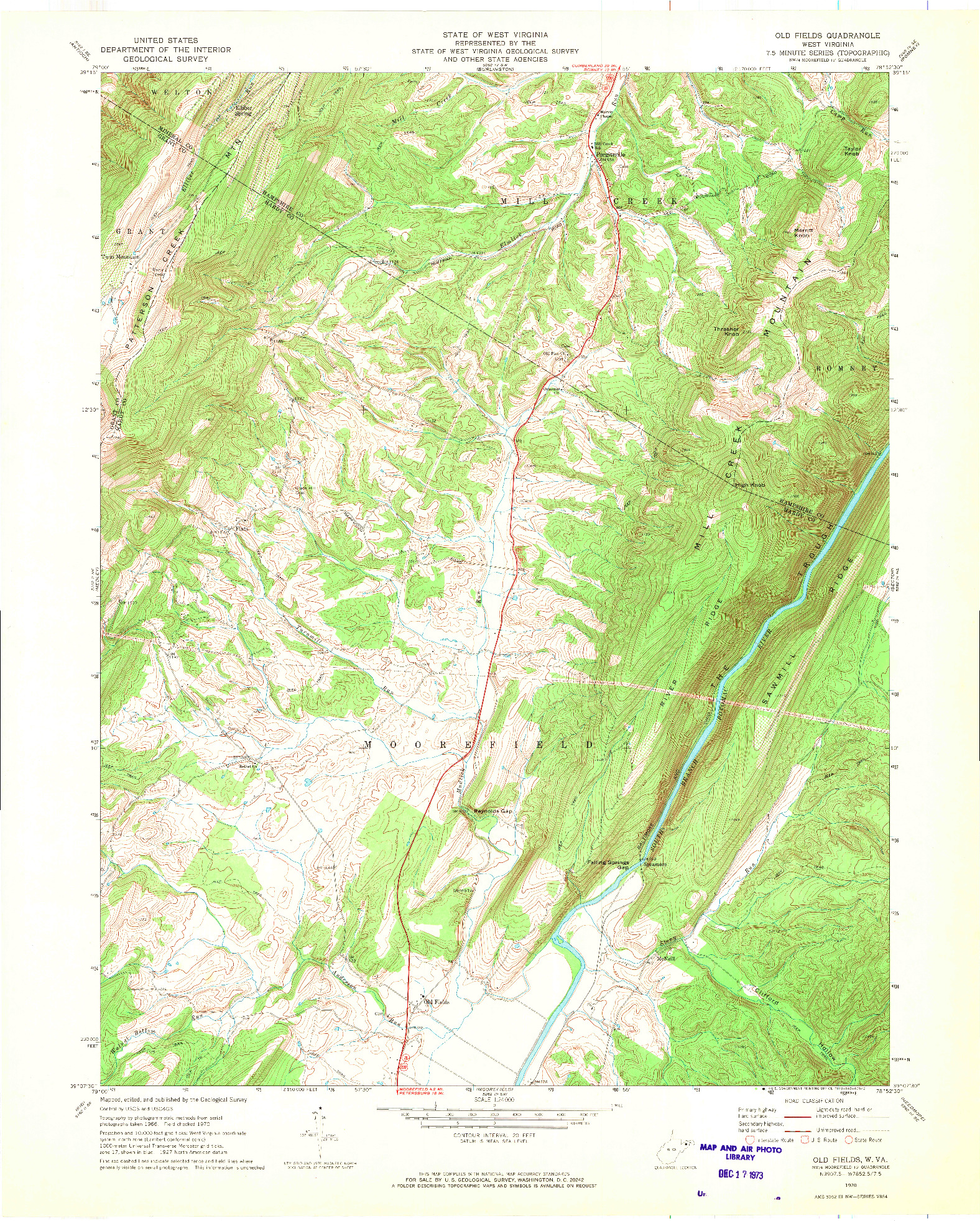 USGS 1:24000-SCALE QUADRANGLE FOR OLD FIELDS, WV 1970