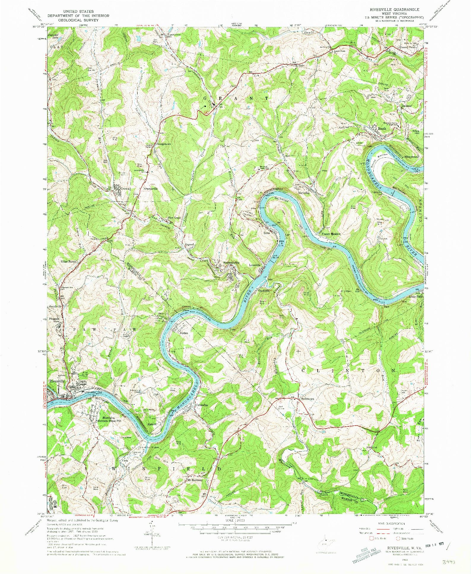 USGS 1:24000-SCALE QUADRANGLE FOR RIVESVILLE, WV 1960