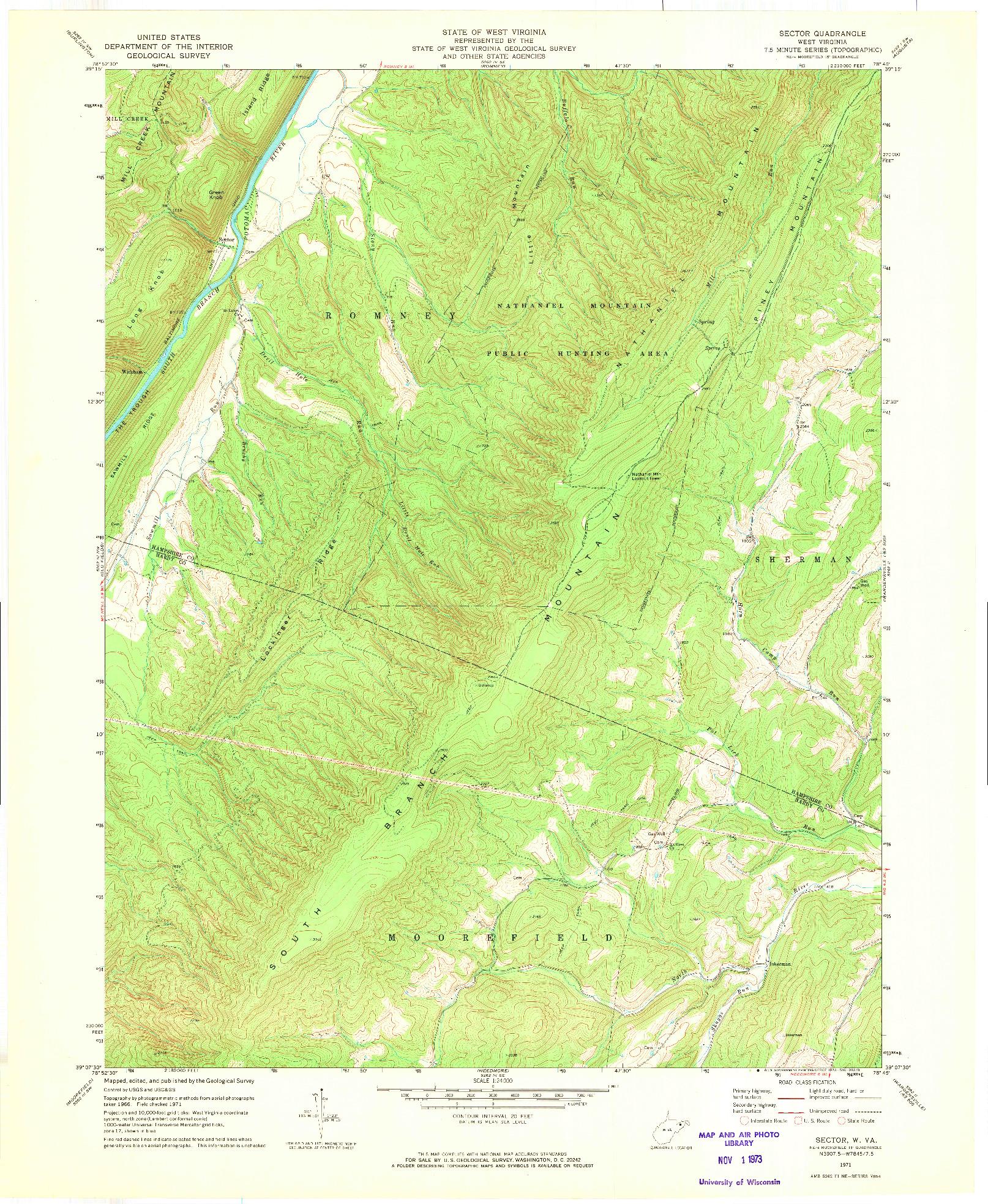 USGS 1:24000-SCALE QUADRANGLE FOR SECTOR, WV 1971