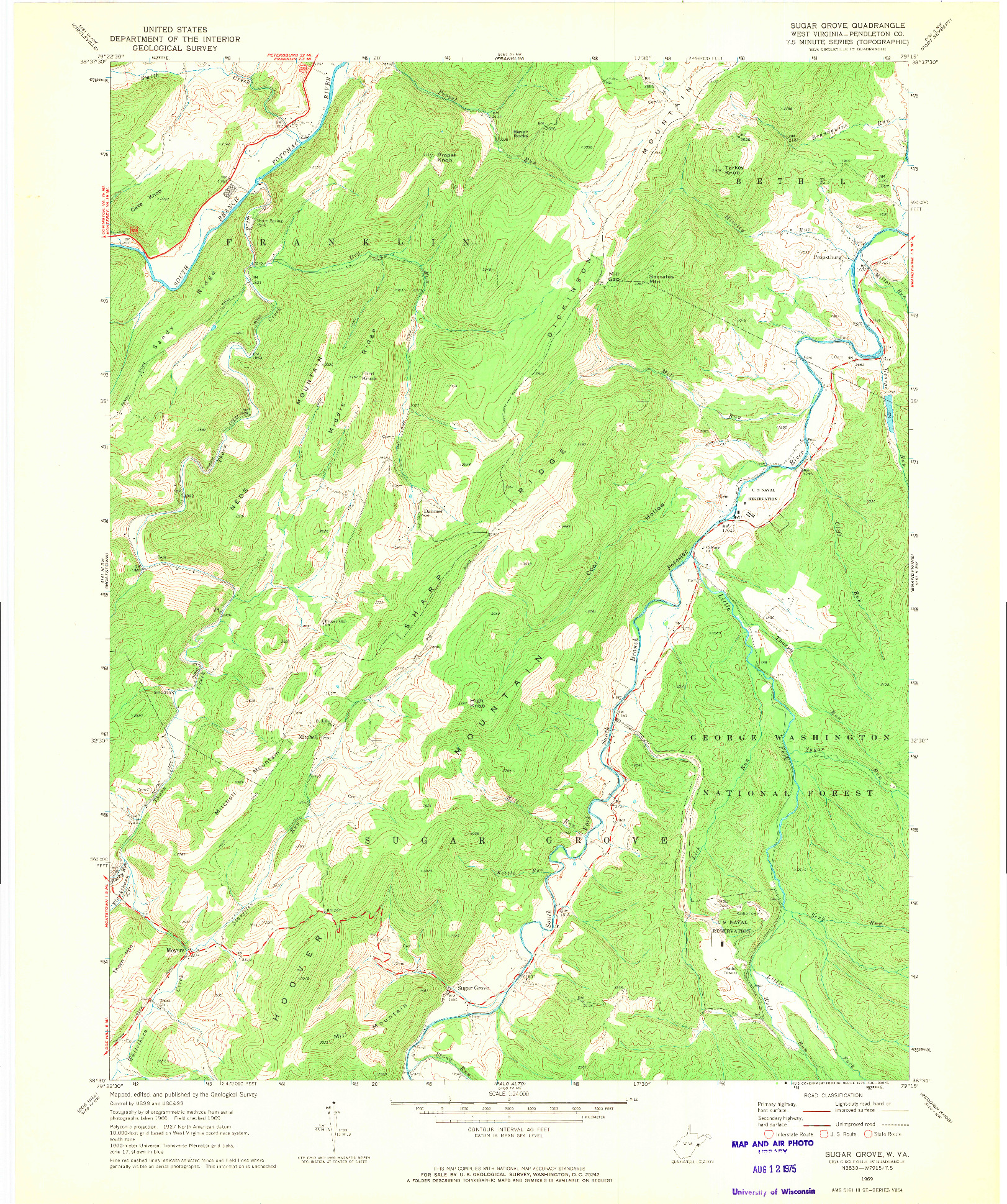 USGS 1:24000-SCALE QUADRANGLE FOR SUGAR GROVE, WV 1969