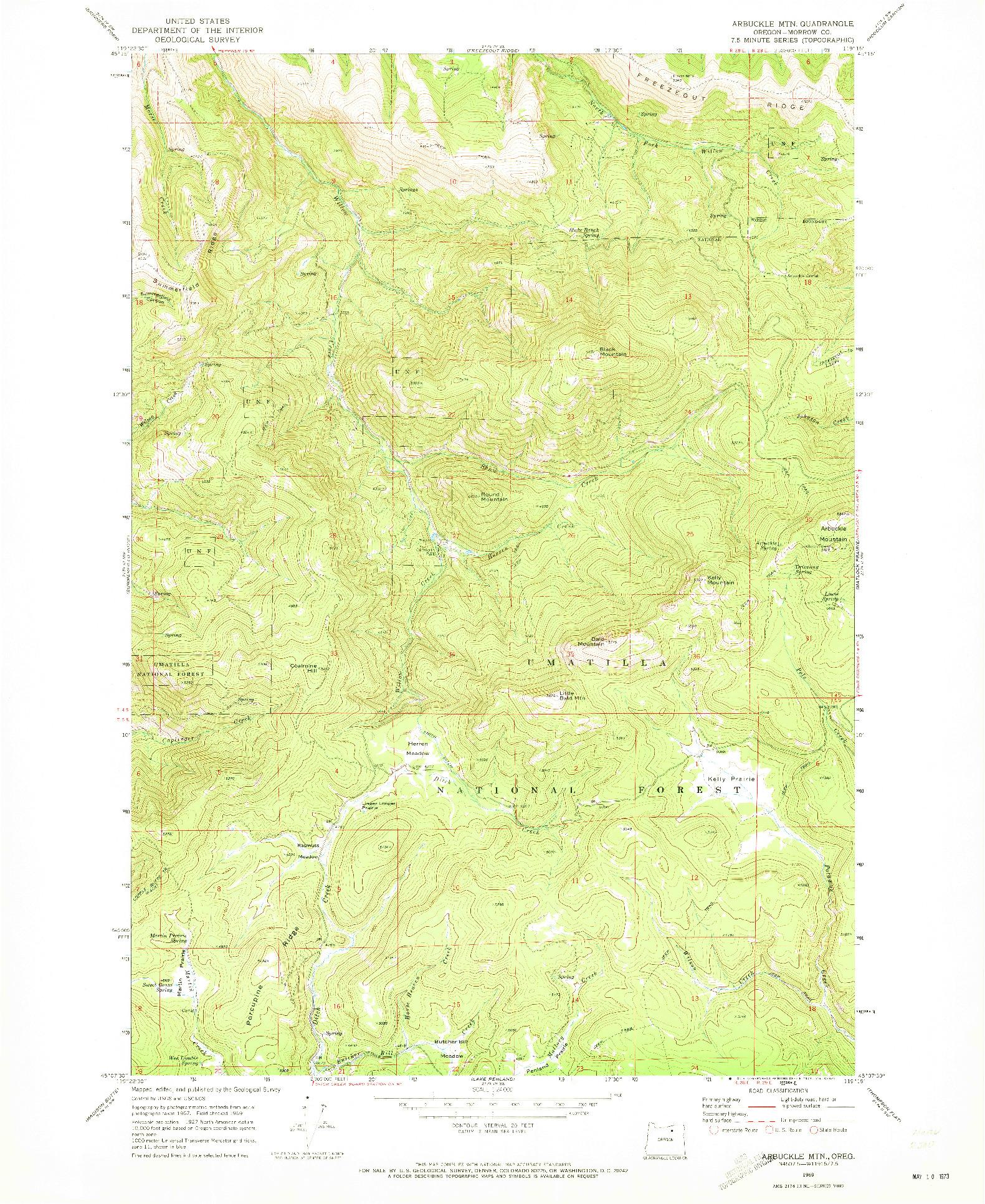 USGS 1:24000-SCALE QUADRANGLE FOR ARBUCKLE MTN, OR 1969