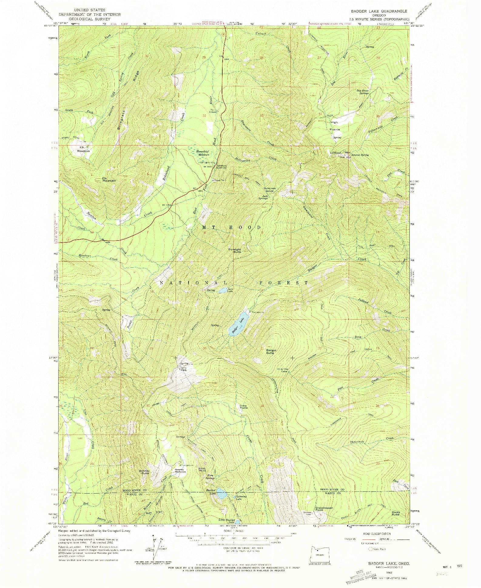 USGS 1:24000-SCALE QUADRANGLE FOR BADGER LAKE, OR 1962