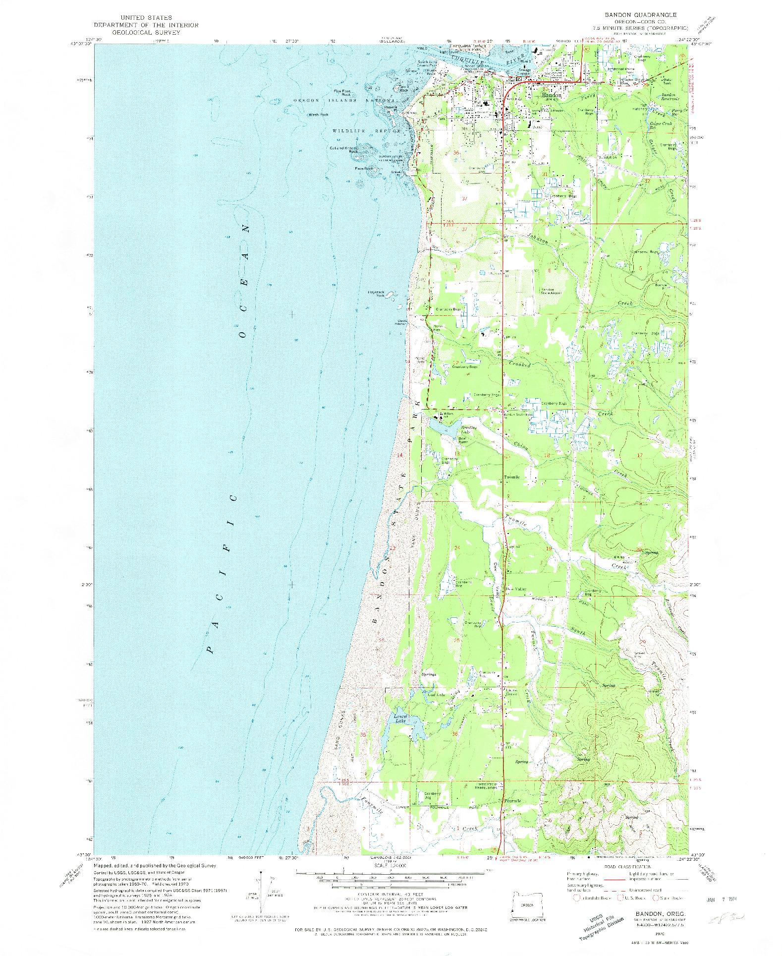 USGS 1:24000-SCALE QUADRANGLE FOR BANDON, OR 1970