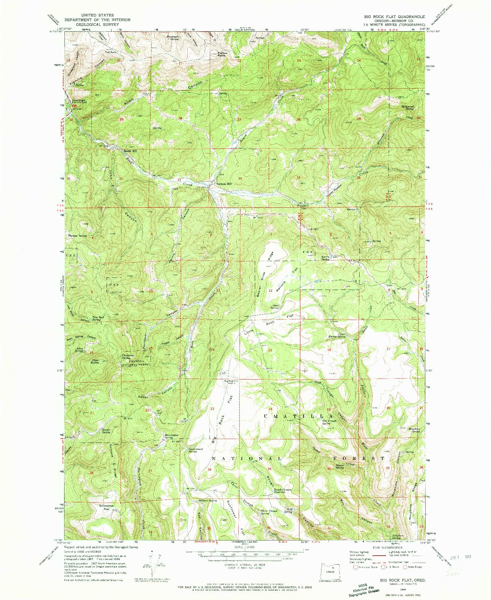 USGS 1:24000-SCALE QUADRANGLE FOR BIG ROCK FLAT, OR 1969