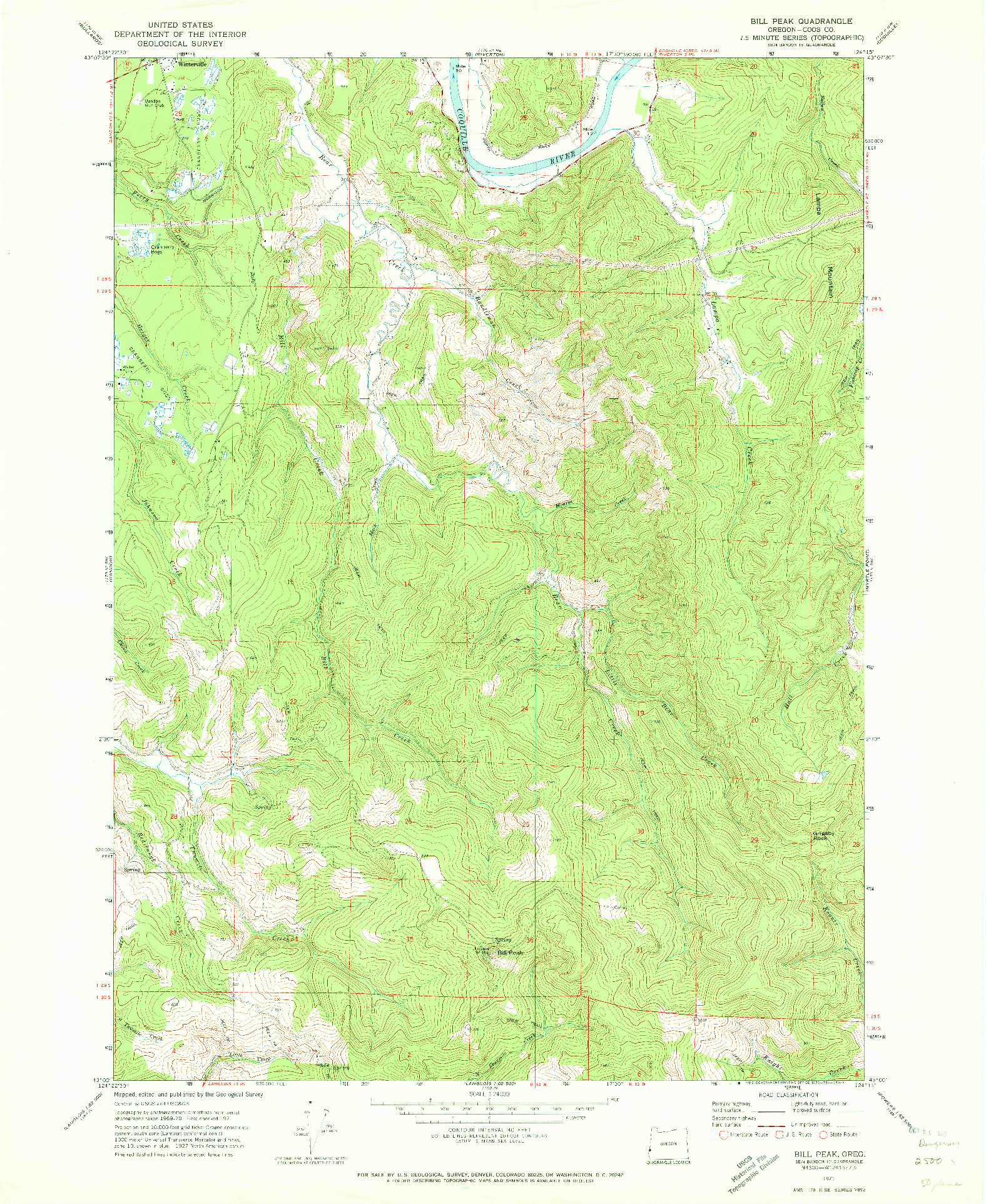 USGS 1:24000-SCALE QUADRANGLE FOR BILL PEAK, OR 1971