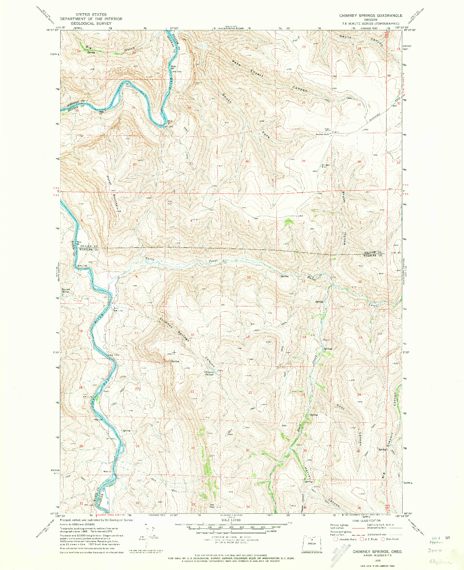 USGS 1:24000-SCALE QUADRANGLE FOR CHIMNEY SPRINGS, OR 1970
