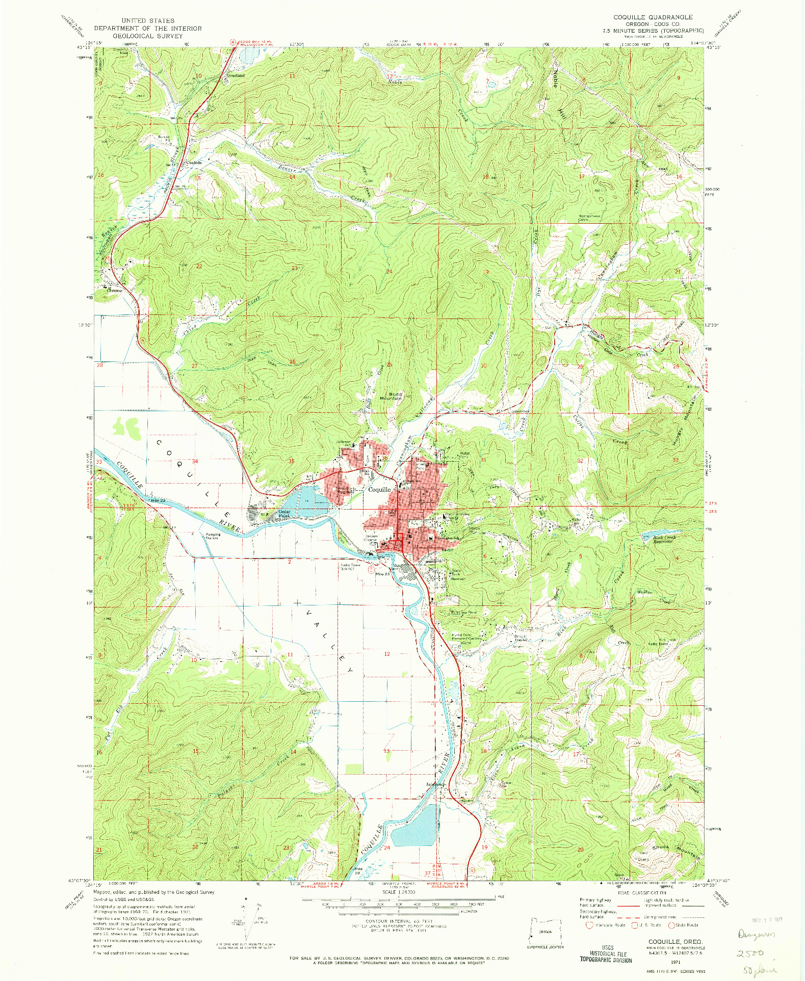 USGS 1:24000-SCALE QUADRANGLE FOR COQUILLE, OR 1971