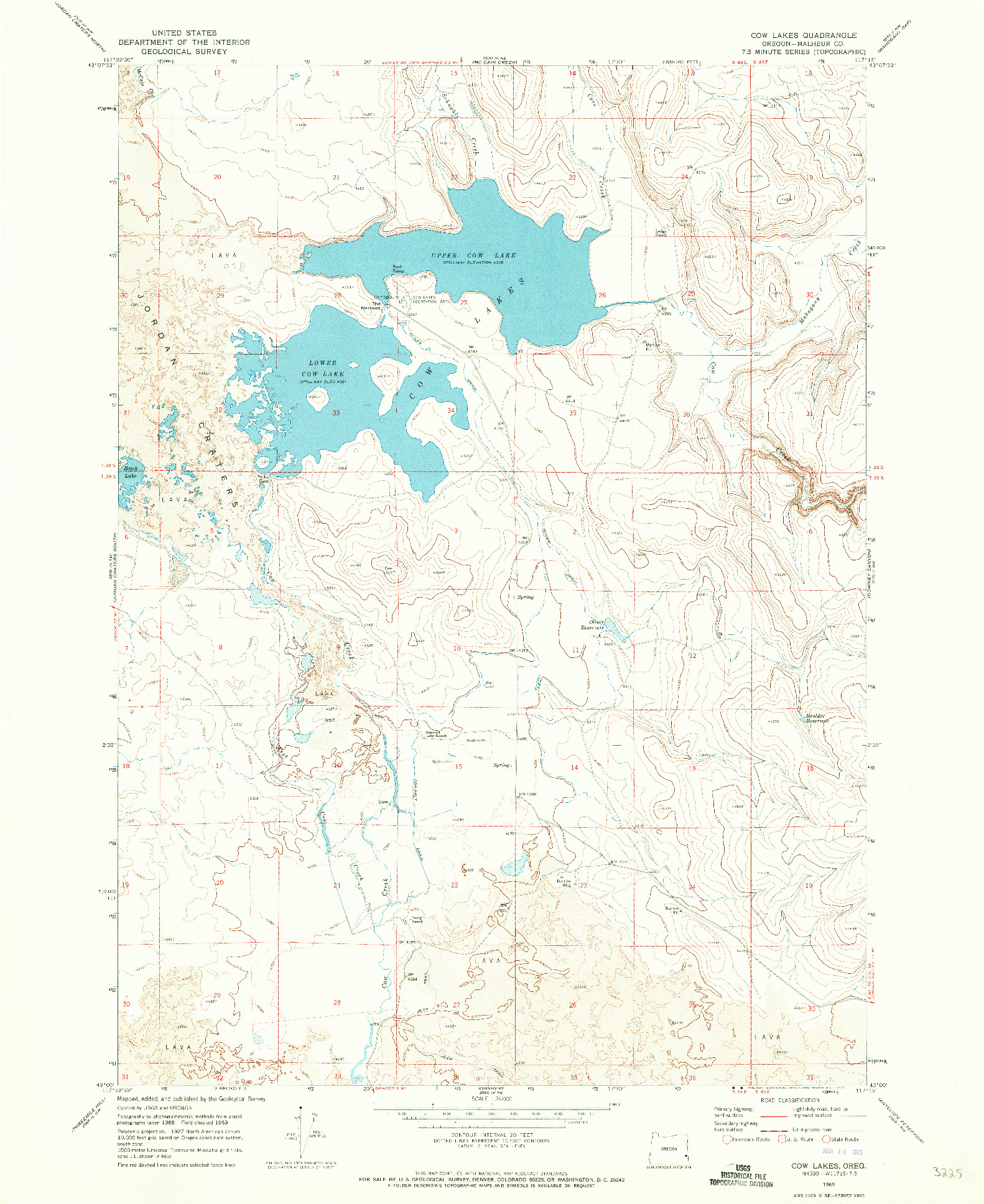 USGS 1:24000-SCALE QUADRANGLE FOR COW LAKES, OR 1969