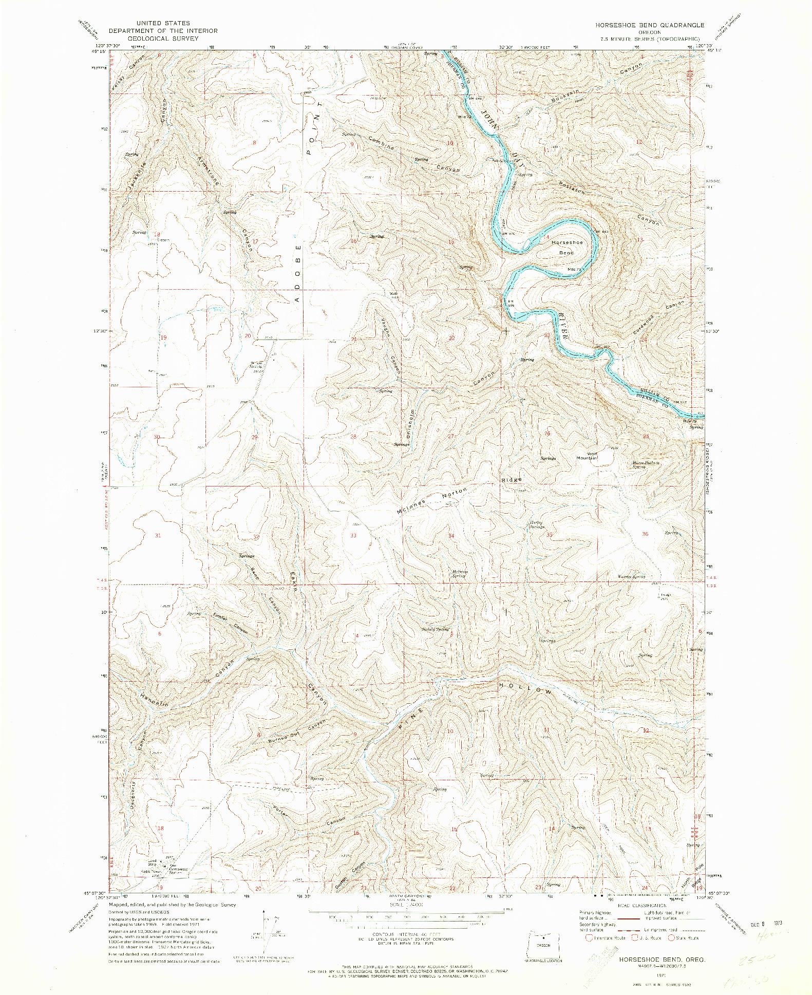 USGS 1:24000-SCALE QUADRANGLE FOR HORSESHOE BEND, OR 1971