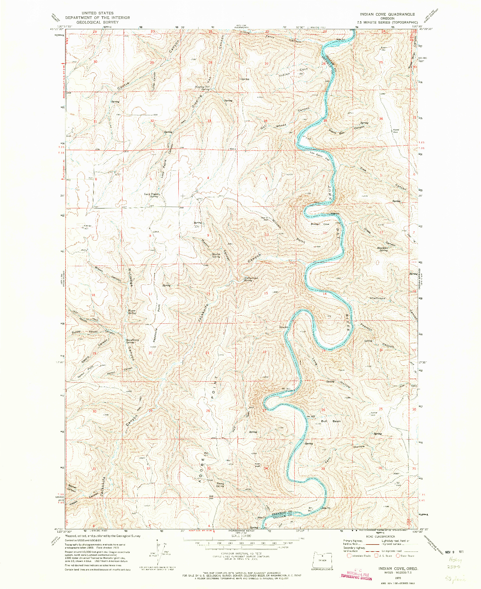 USGS 1:24000-SCALE QUADRANGLE FOR INDIAN COVE, OR 1970
