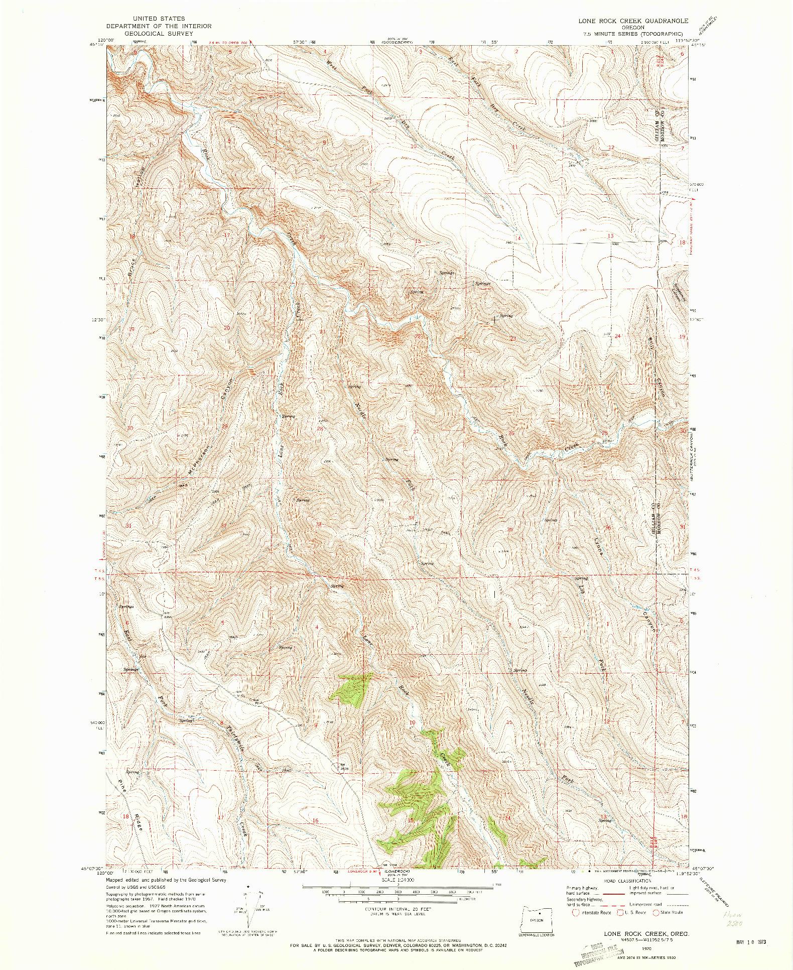 USGS 1:24000-SCALE QUADRANGLE FOR LONE ROCK CREEK, OR 1970