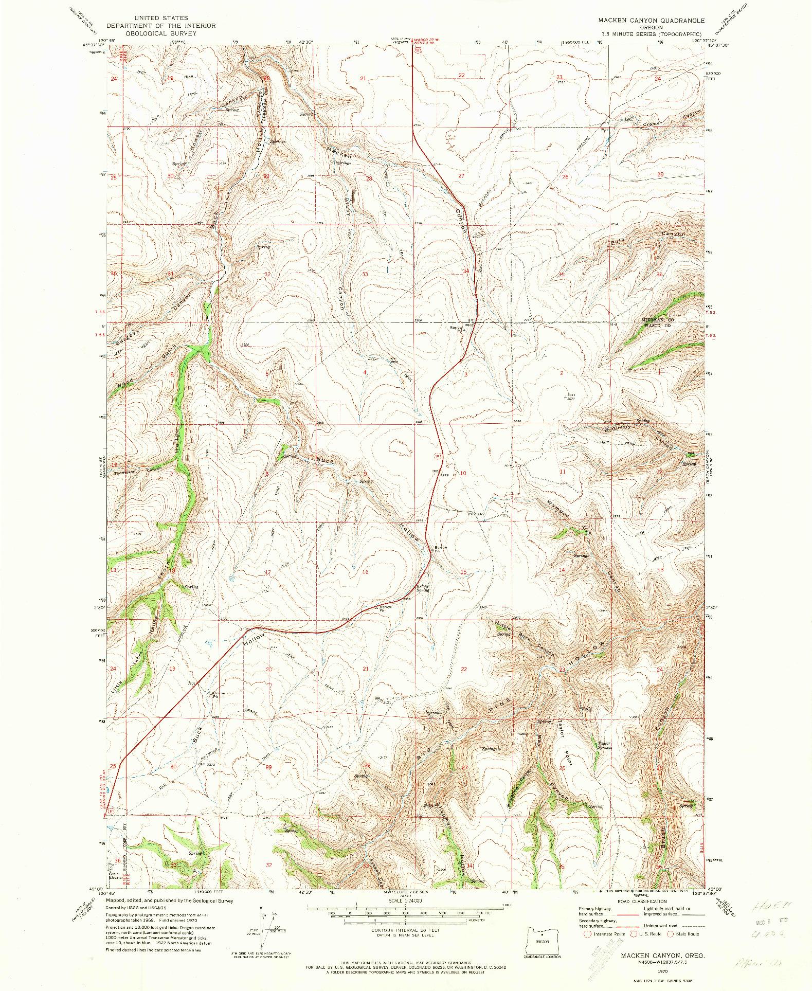 USGS 1:24000-SCALE QUADRANGLE FOR MACKEN CANYON, OR 1970