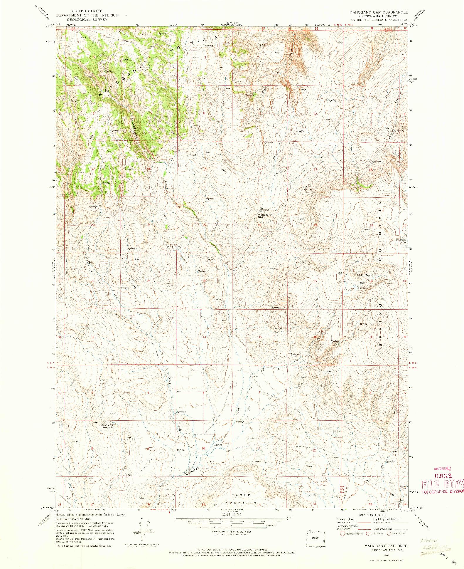 USGS 1:24000-SCALE QUADRANGLE FOR MAHOGANY GAP, OR 1969