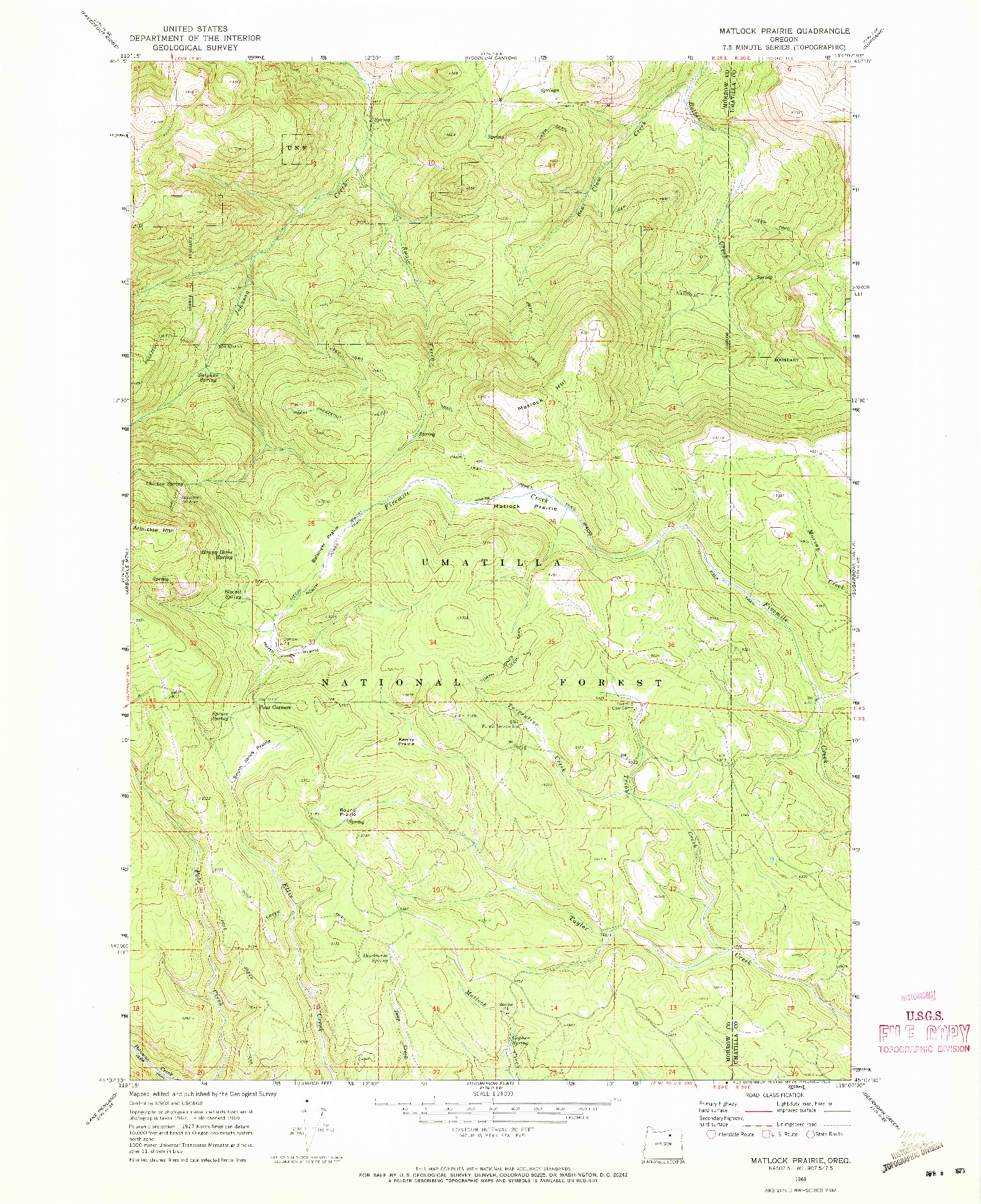 USGS 1:24000-SCALE QUADRANGLE FOR MATLOCK PRAIRIE, OR 1969
