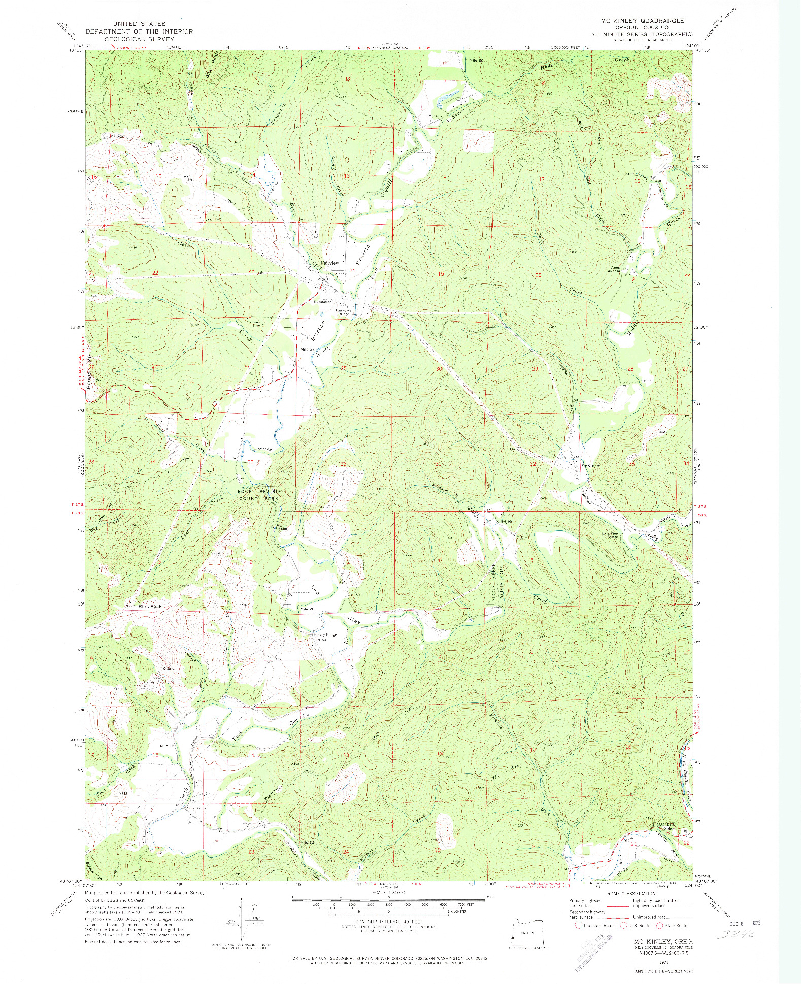 USGS 1:24000-SCALE QUADRANGLE FOR MC KINLEY, OR 1971