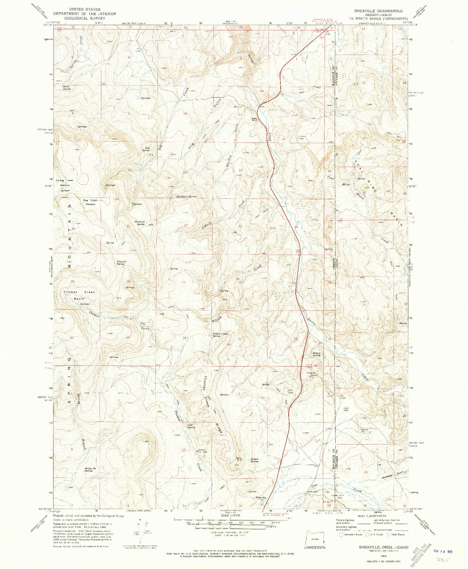USGS 1:24000-SCALE QUADRANGLE FOR SHEAVILLE, OR 1969