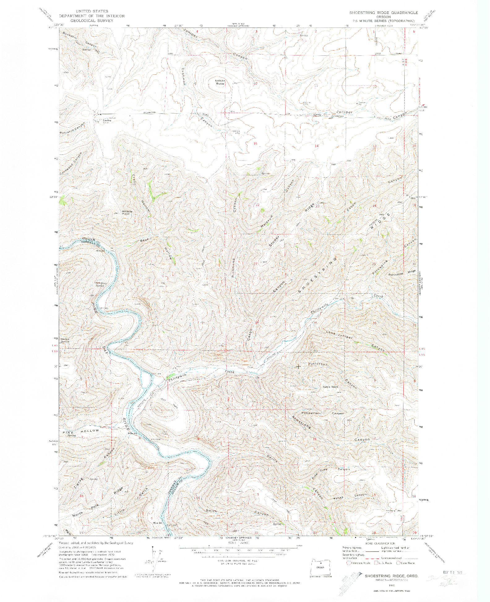 USGS 1:24000-SCALE QUADRANGLE FOR SHOESTRING RIDGE, OR 1970