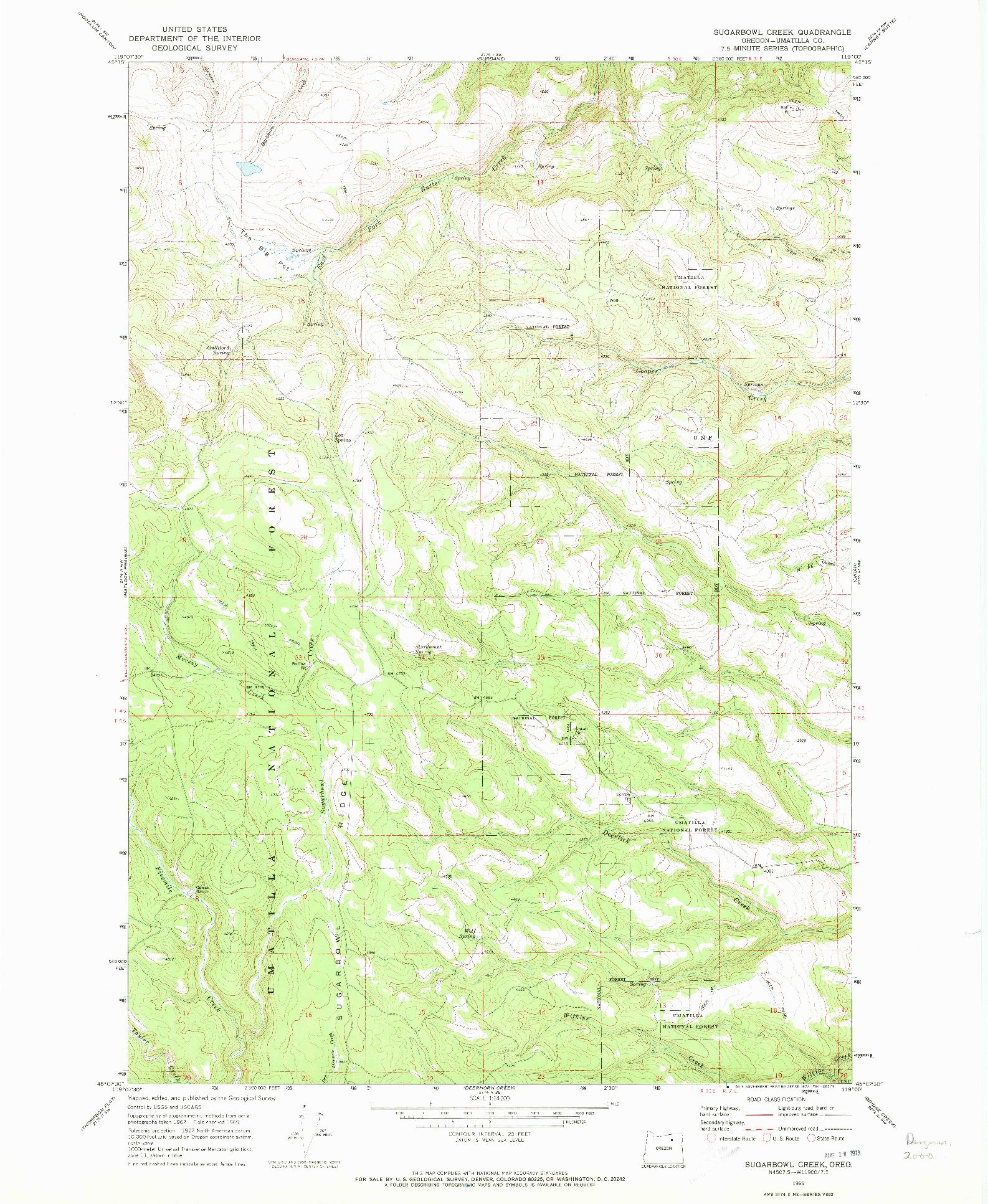 USGS 1:24000-SCALE QUADRANGLE FOR SUGARBOWL CREEK, OR 1969