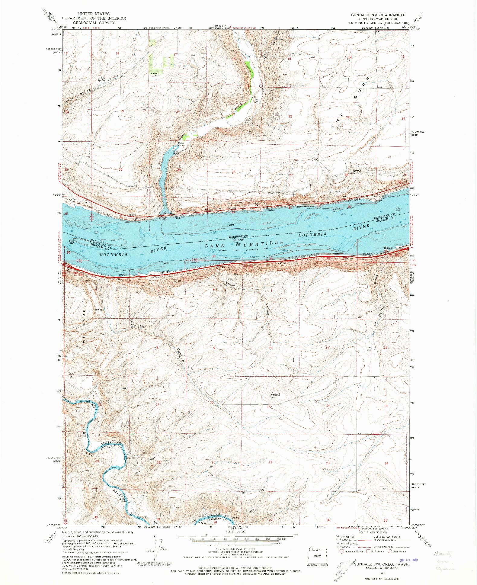 USGS 1:24000-SCALE QUADRANGLE FOR SUNDALE NW, OR 1971