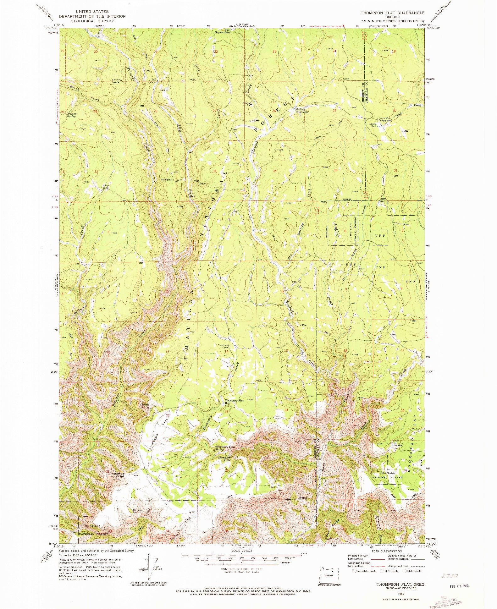 USGS 1:24000-SCALE QUADRANGLE FOR THOMPSON FLAT, OR 1969