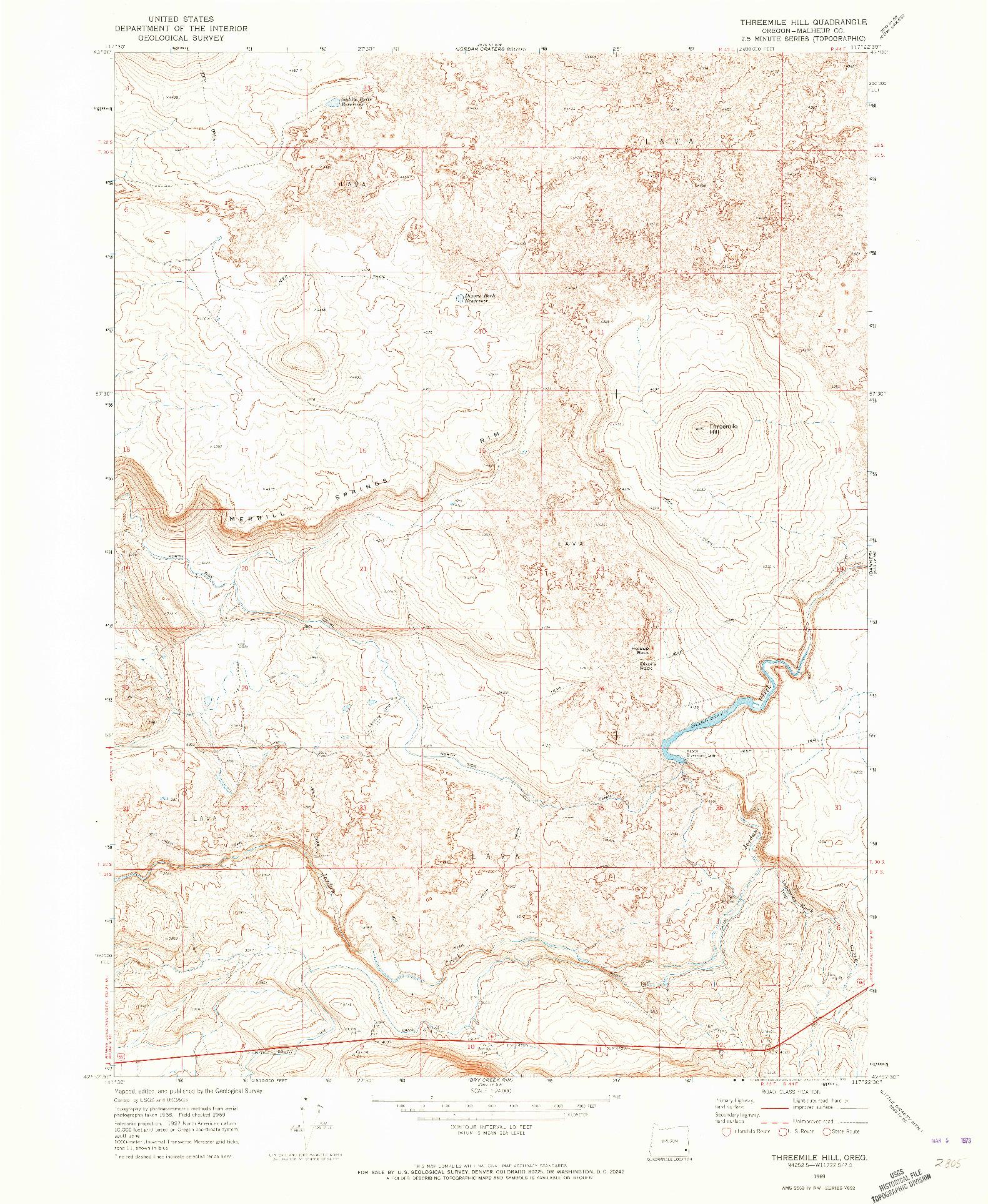 USGS 1:24000-SCALE QUADRANGLE FOR THREEMILE HILL, OR 1969
