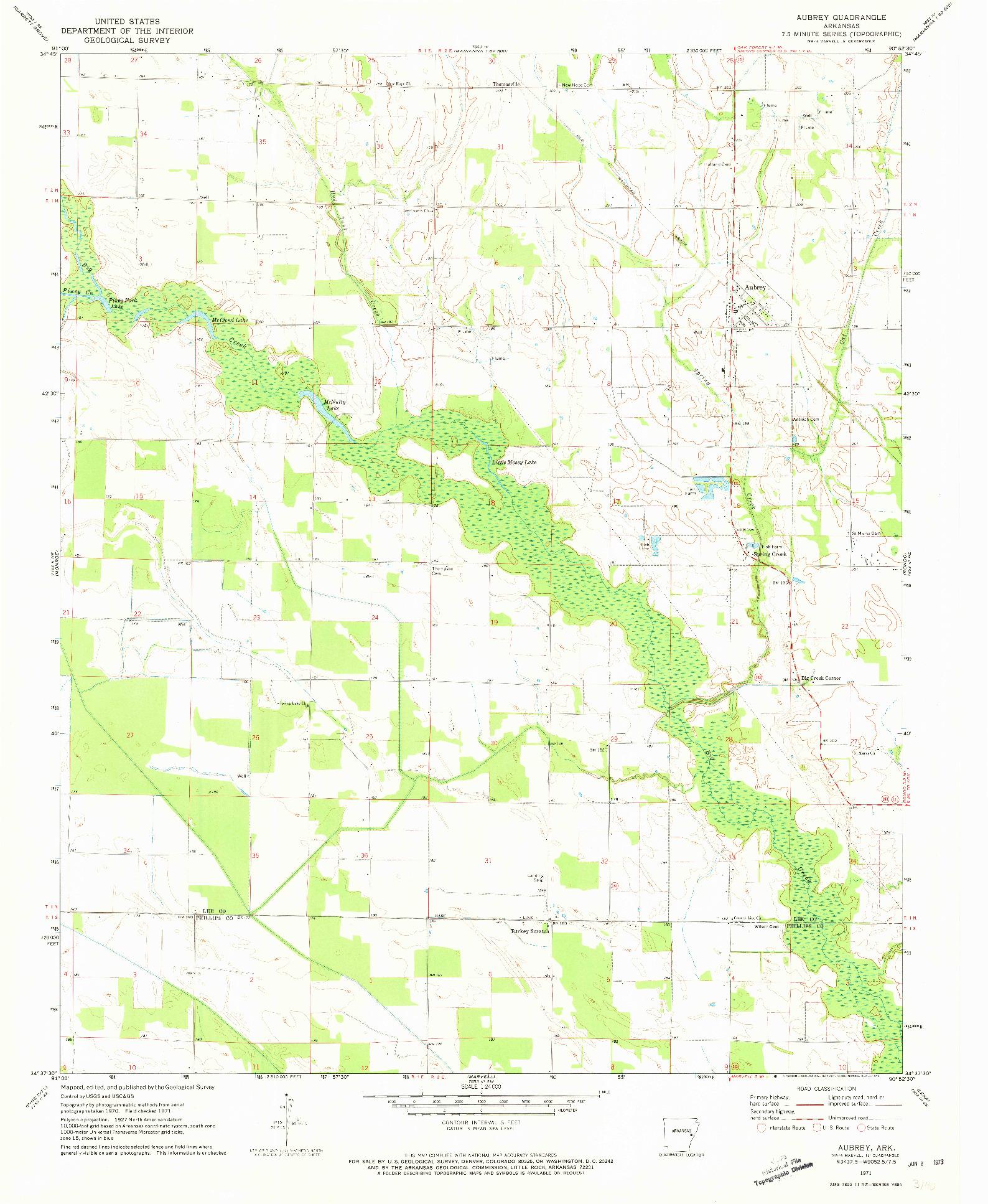 USGS 1:24000-SCALE QUADRANGLE FOR AUBREY, AR 1971