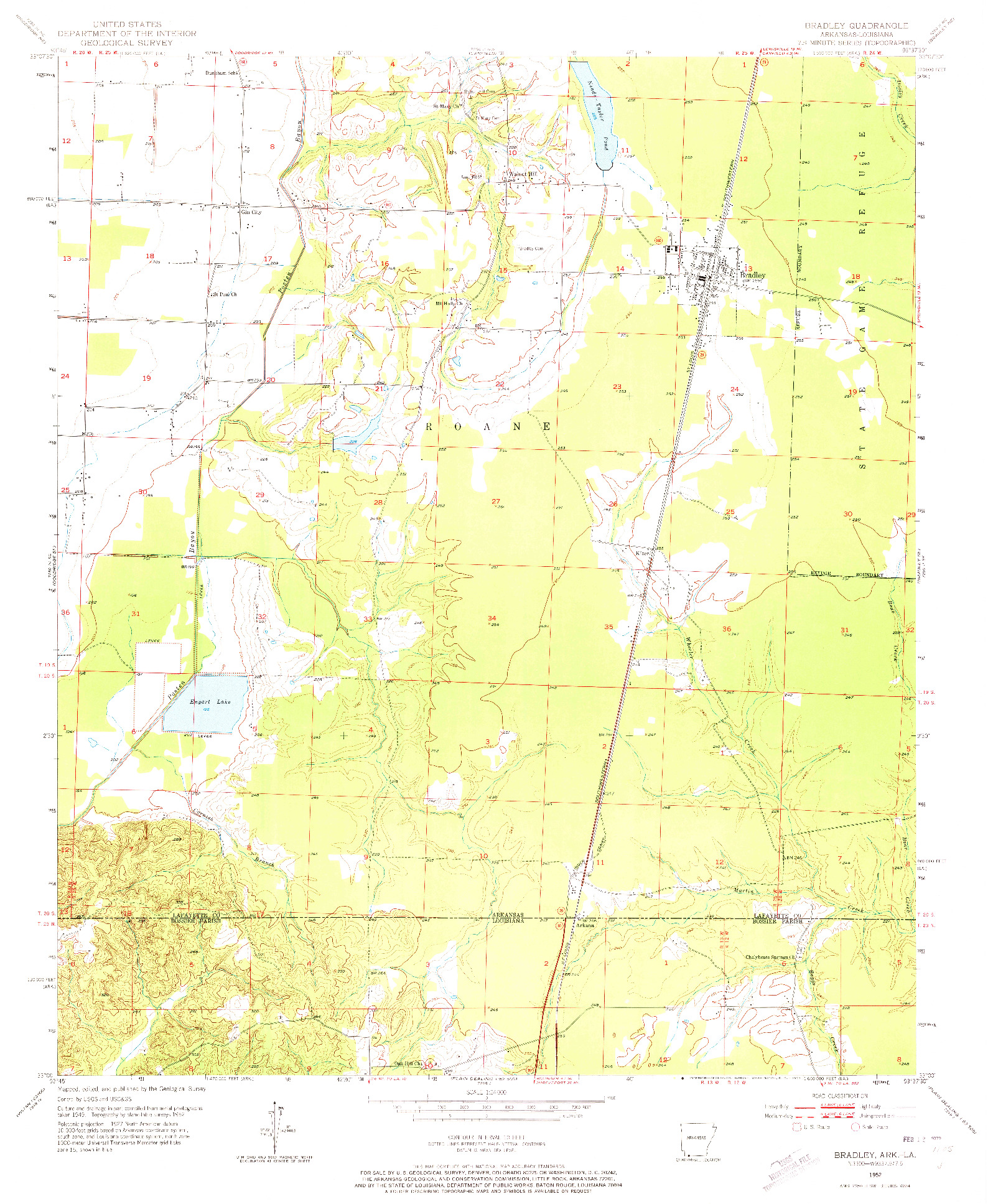USGS 1:24000-SCALE QUADRANGLE FOR BRADLEY, AR 1952