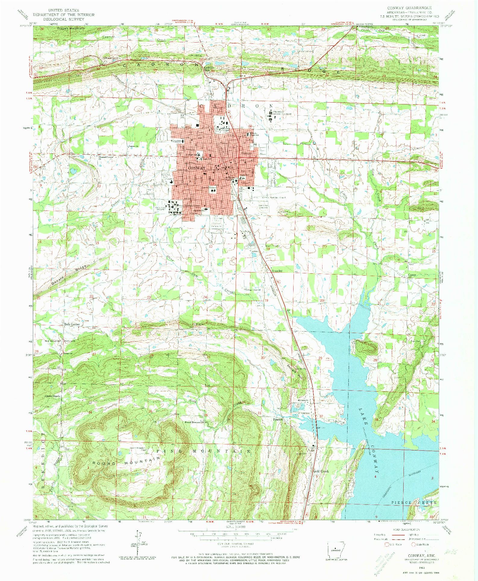 USGS 1:24000-SCALE QUADRANGLE FOR CONWAY, AR 1961