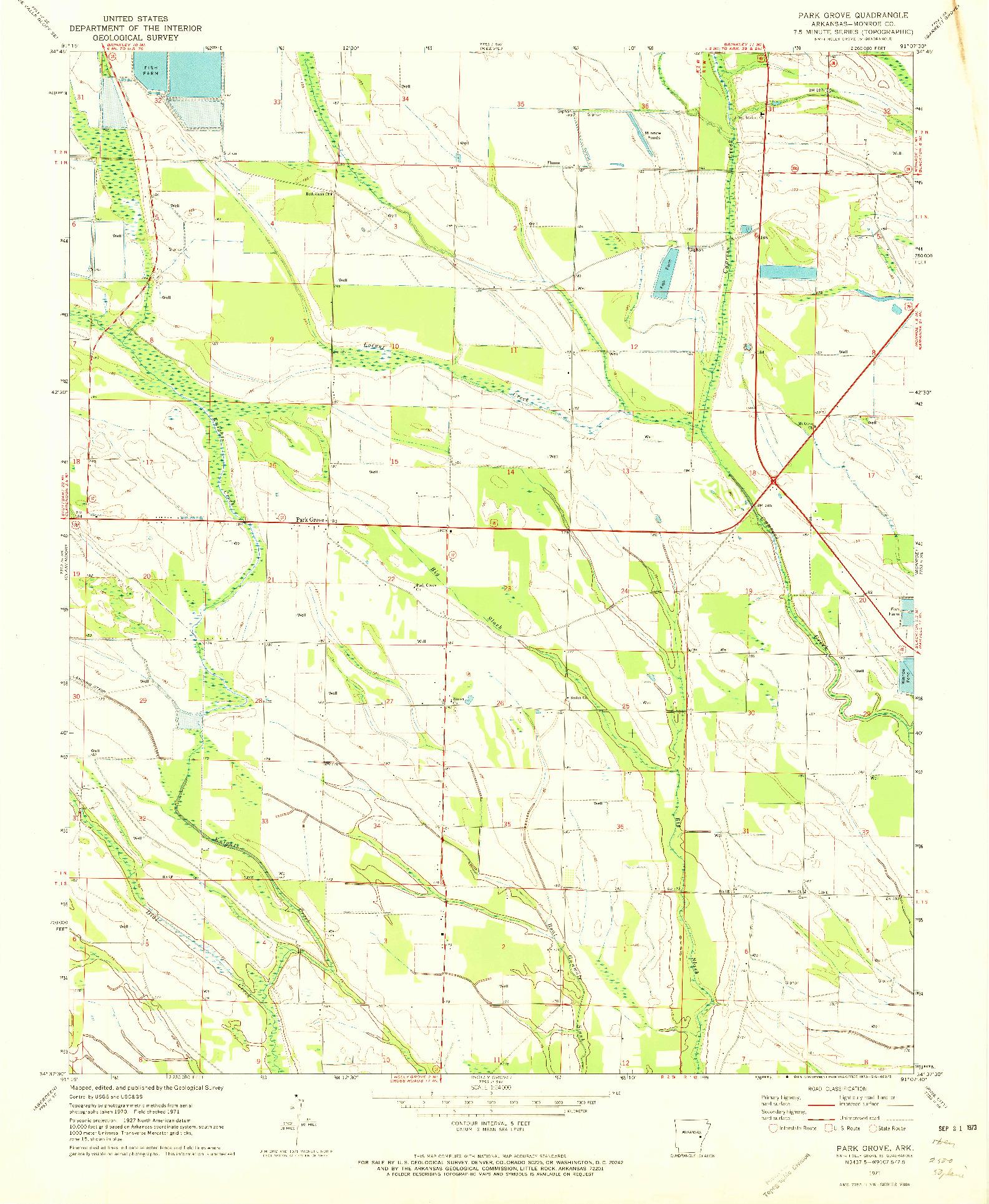USGS 1:24000-SCALE QUADRANGLE FOR PARK GROVE, AR 1971