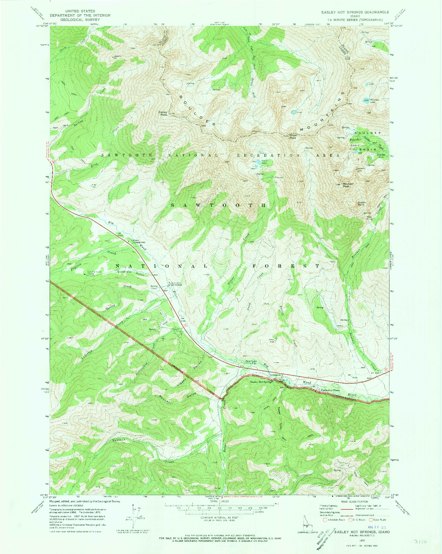 USGS 1:24000-SCALE QUADRANGLE FOR EASLEY HOT SPRINGS, ID 1970