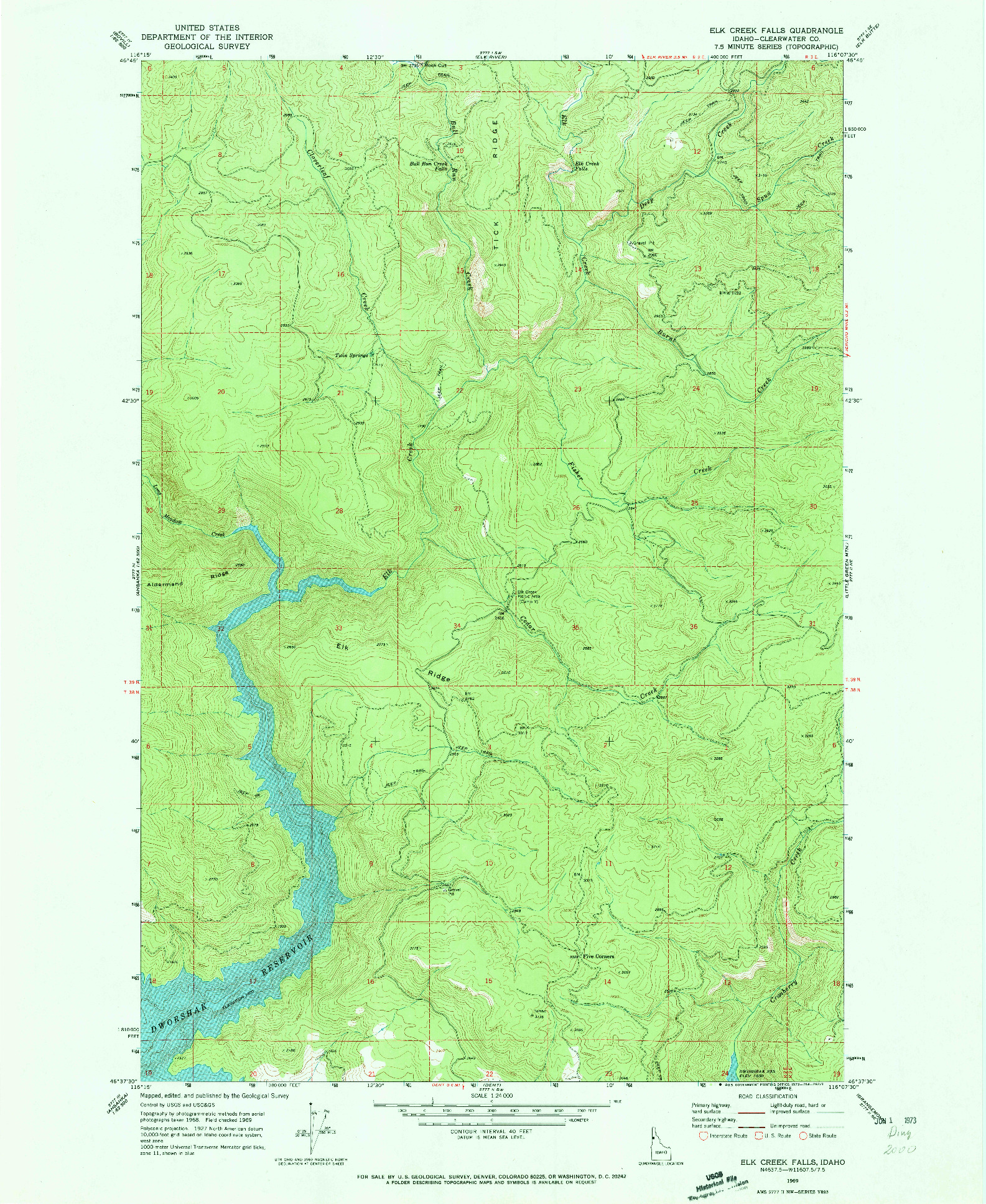 USGS 1:24000-SCALE QUADRANGLE FOR ELK CREEK FALLS, ID 1969