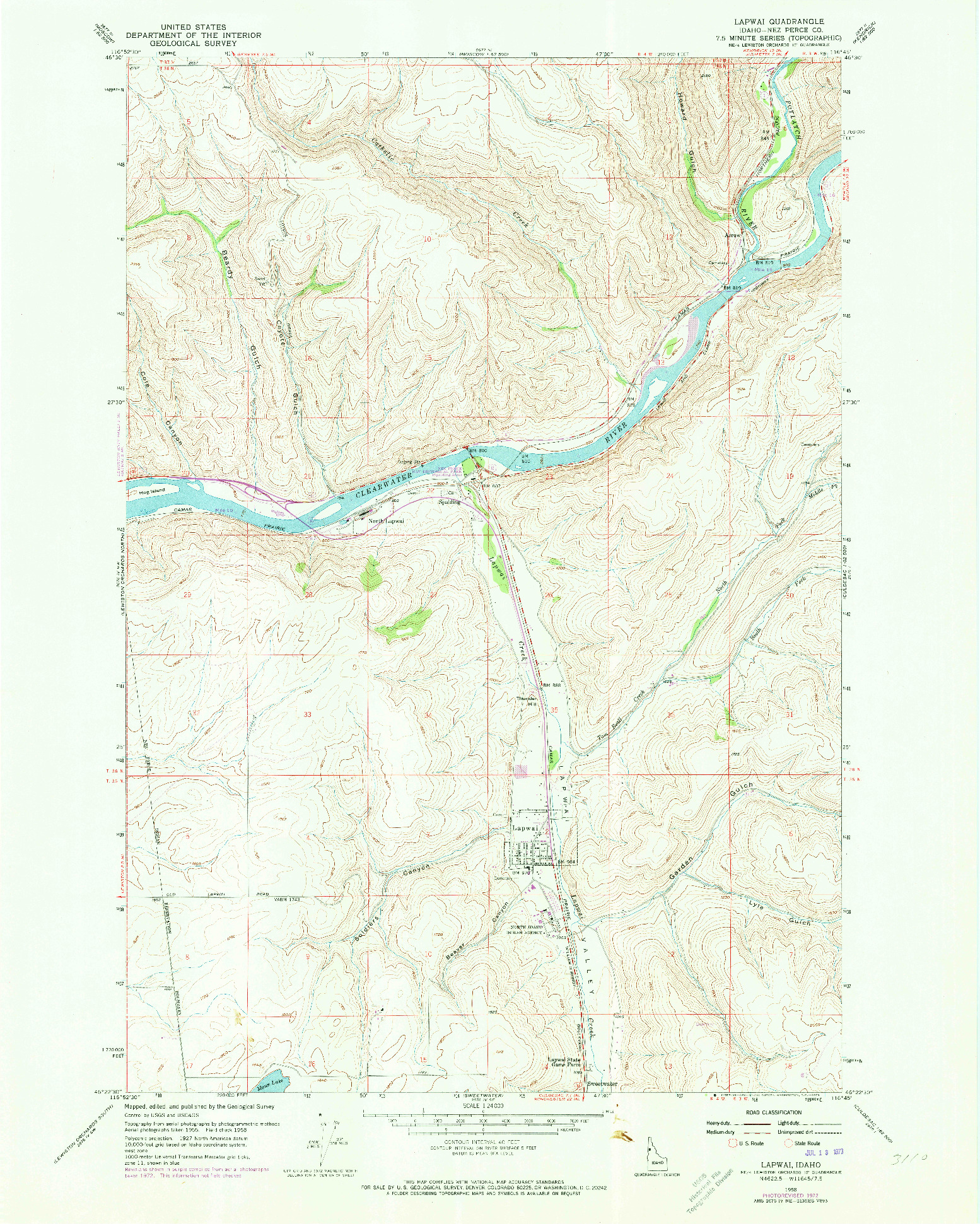 USGS 1:24000-SCALE QUADRANGLE FOR LAPWAI, ID 1958