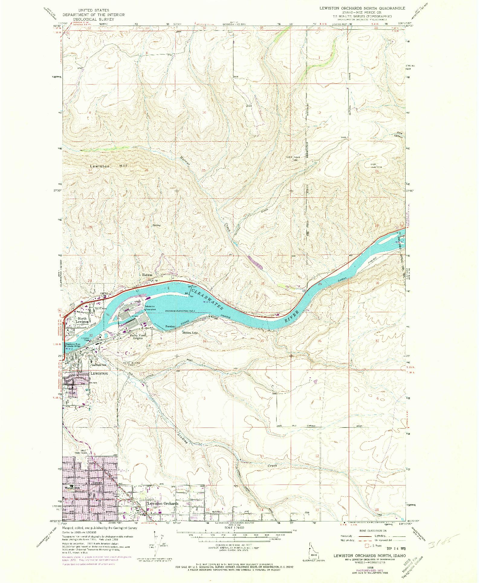 USGS 1:24000-SCALE QUADRANGLE FOR LEWISTON ORCHARDS NORTH, ID 1958
