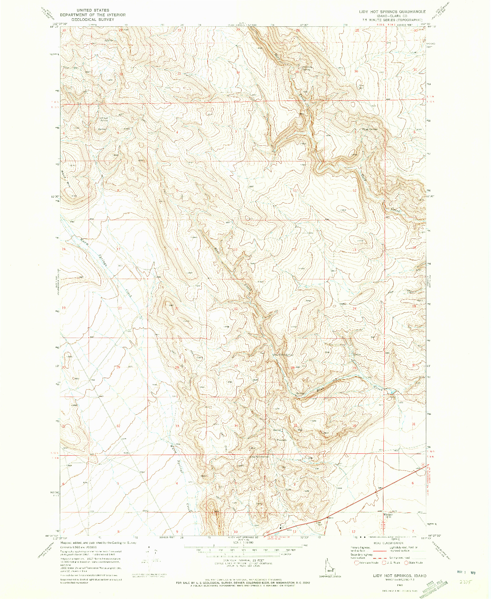 USGS 1:24000-SCALE QUADRANGLE FOR LIDY HOT SPRINGS, ID 1969