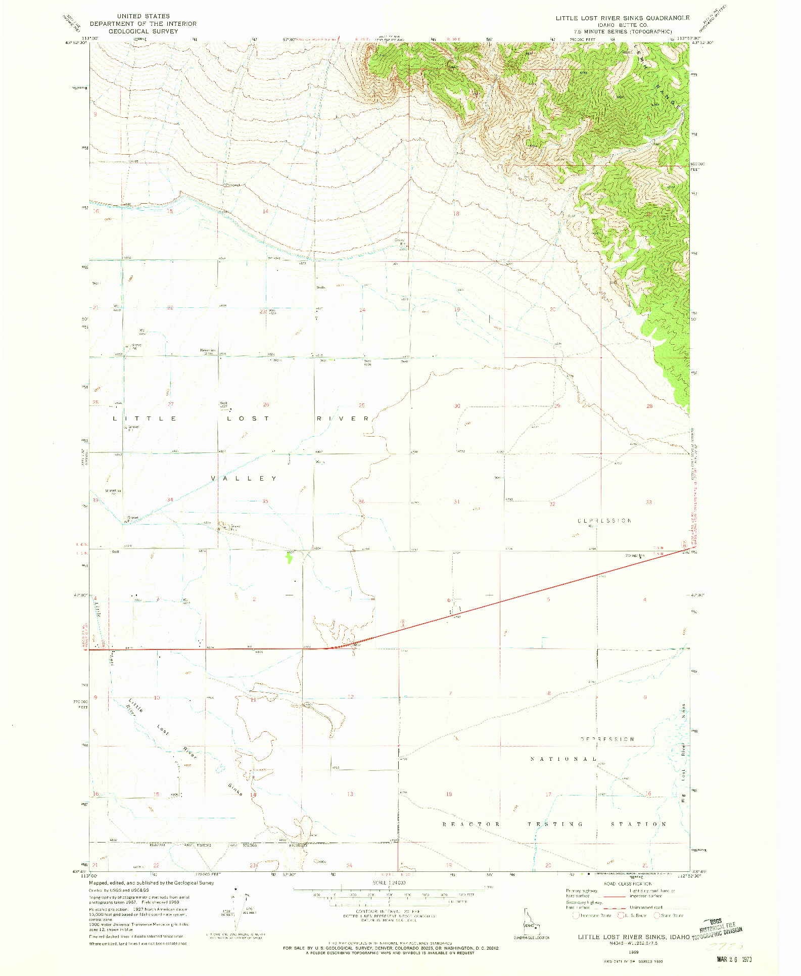 USGS 1:24000-SCALE QUADRANGLE FOR LITTLE LOST RIVER SINKS, ID 1969