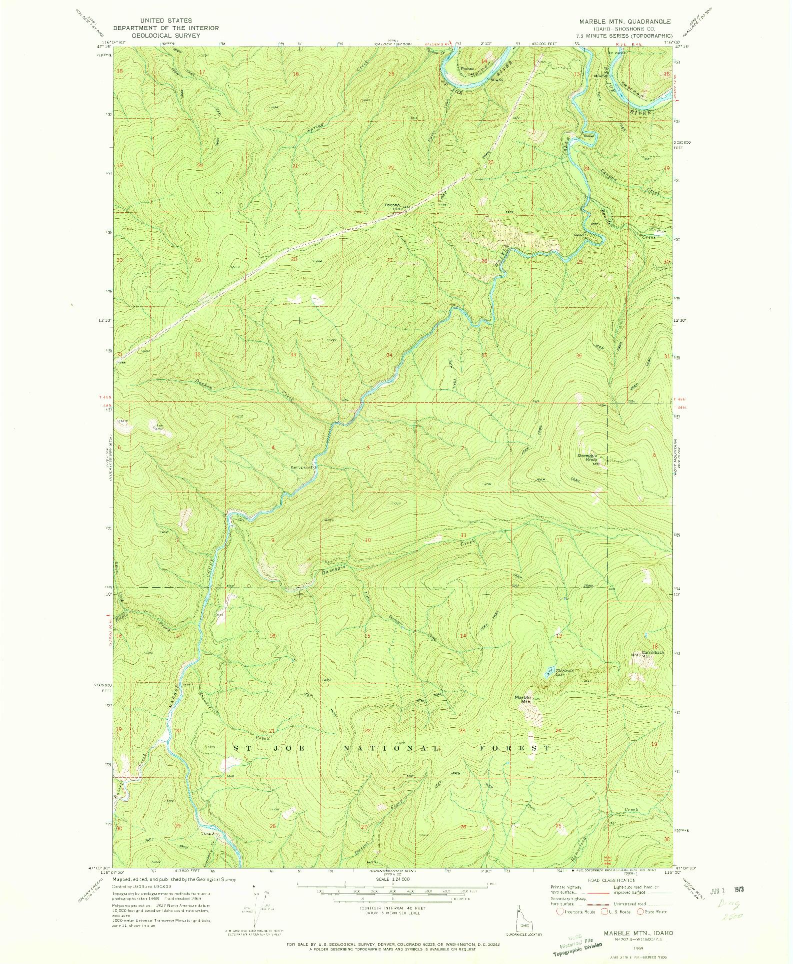 USGS 1:24000-SCALE QUADRANGLE FOR MARBLE MOUNTAIN, ID 1969
