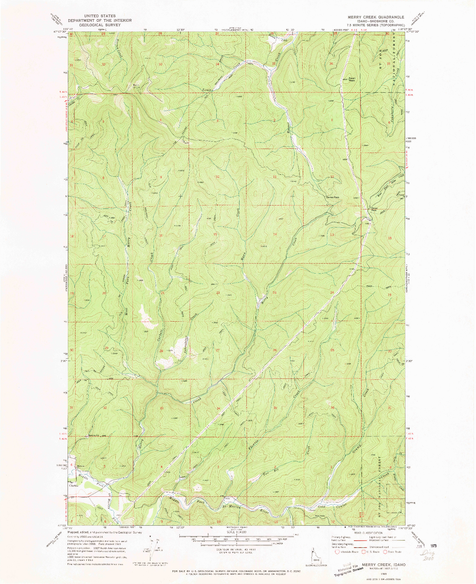 USGS 1:24000-SCALE QUADRANGLE FOR MERRY CREEK, ID 1969